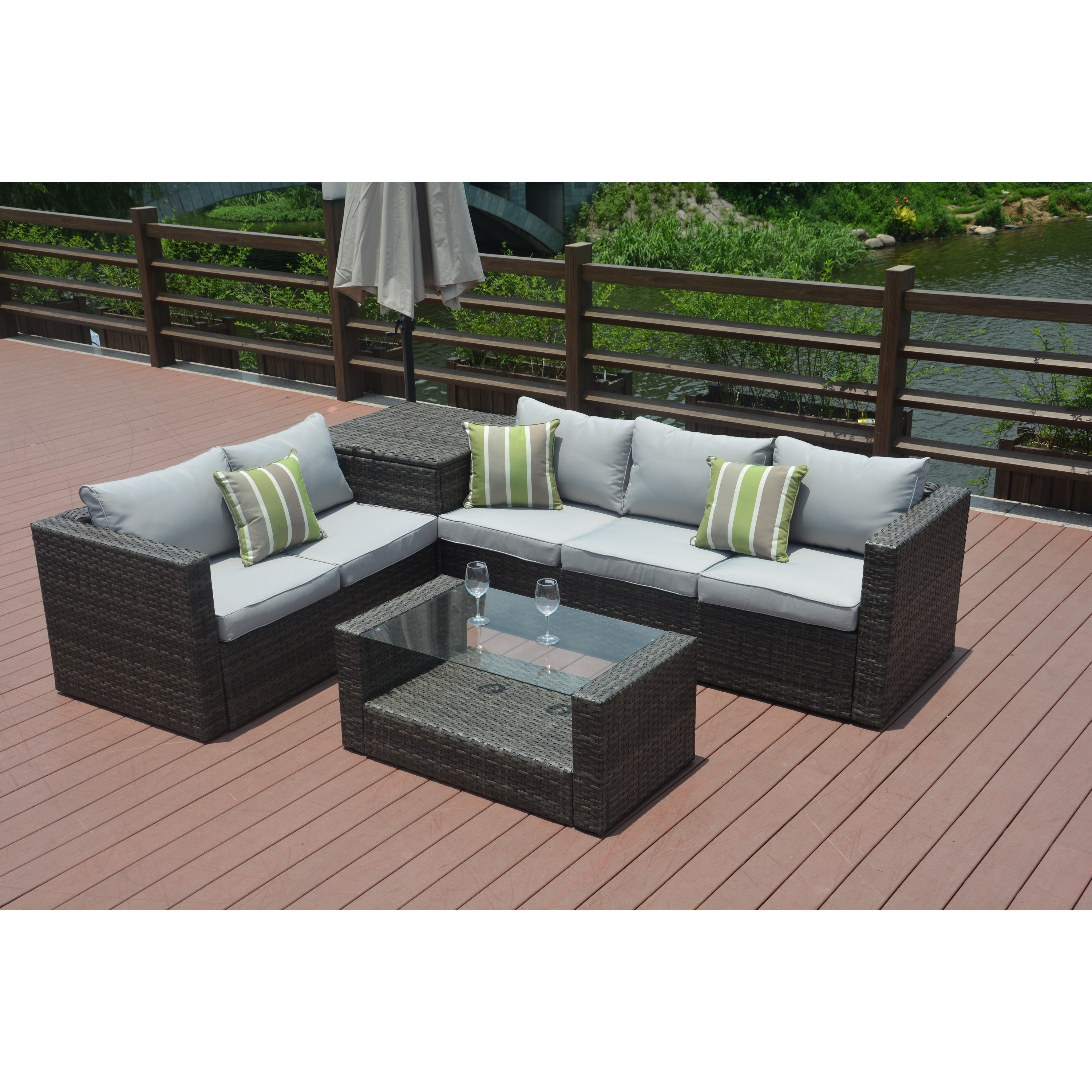 Shop Jasmine 4 Piece Grey Wicker Patio Furniture Set With Cushion Box By  Direct Wicker   Free Shipping Today   Overstock.com   16764475