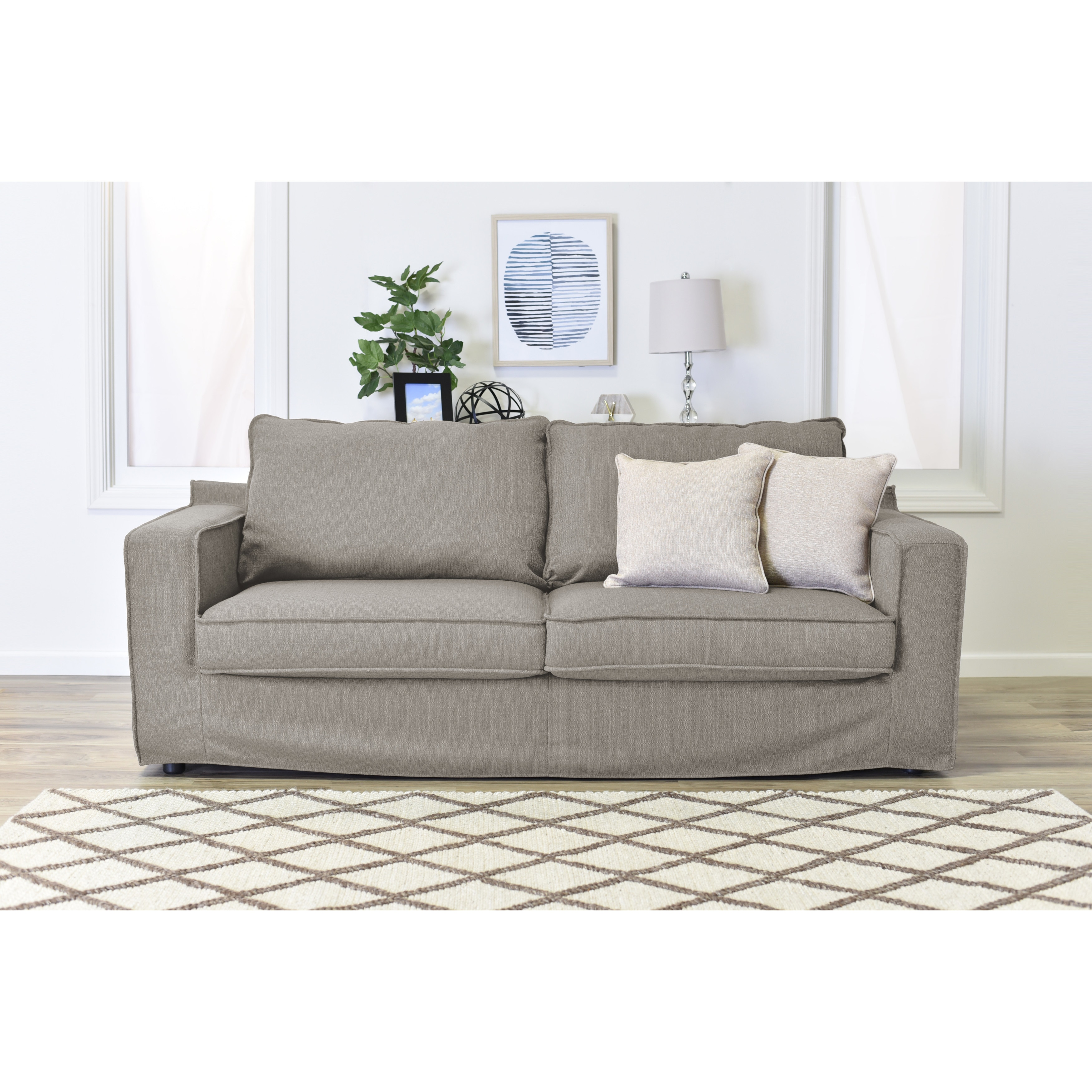 Shop Serta Colton Fabric 85-inch Sofa with Slipcover - Free Shipping ...