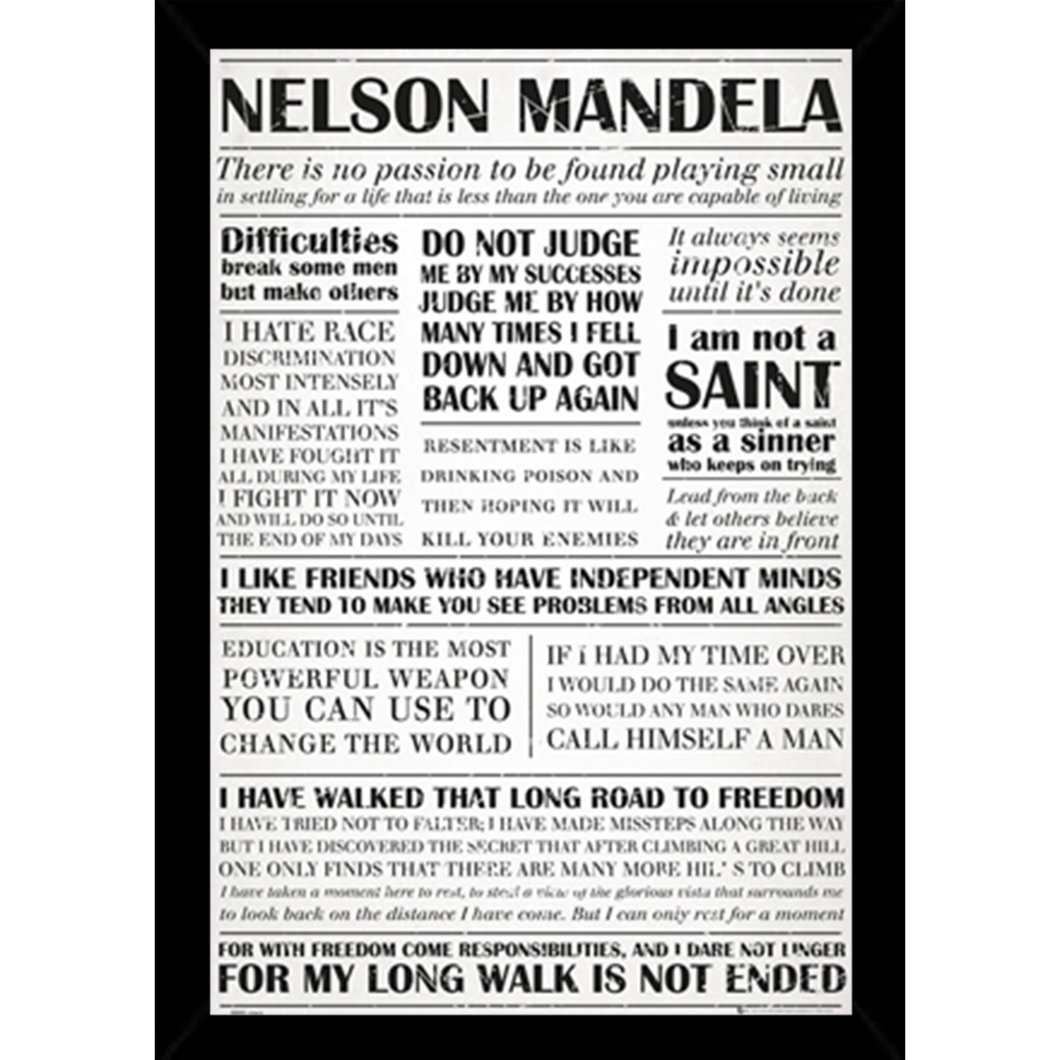 Shop Nelson Mandela Quotes Poster With Choice Of Frame 24x36