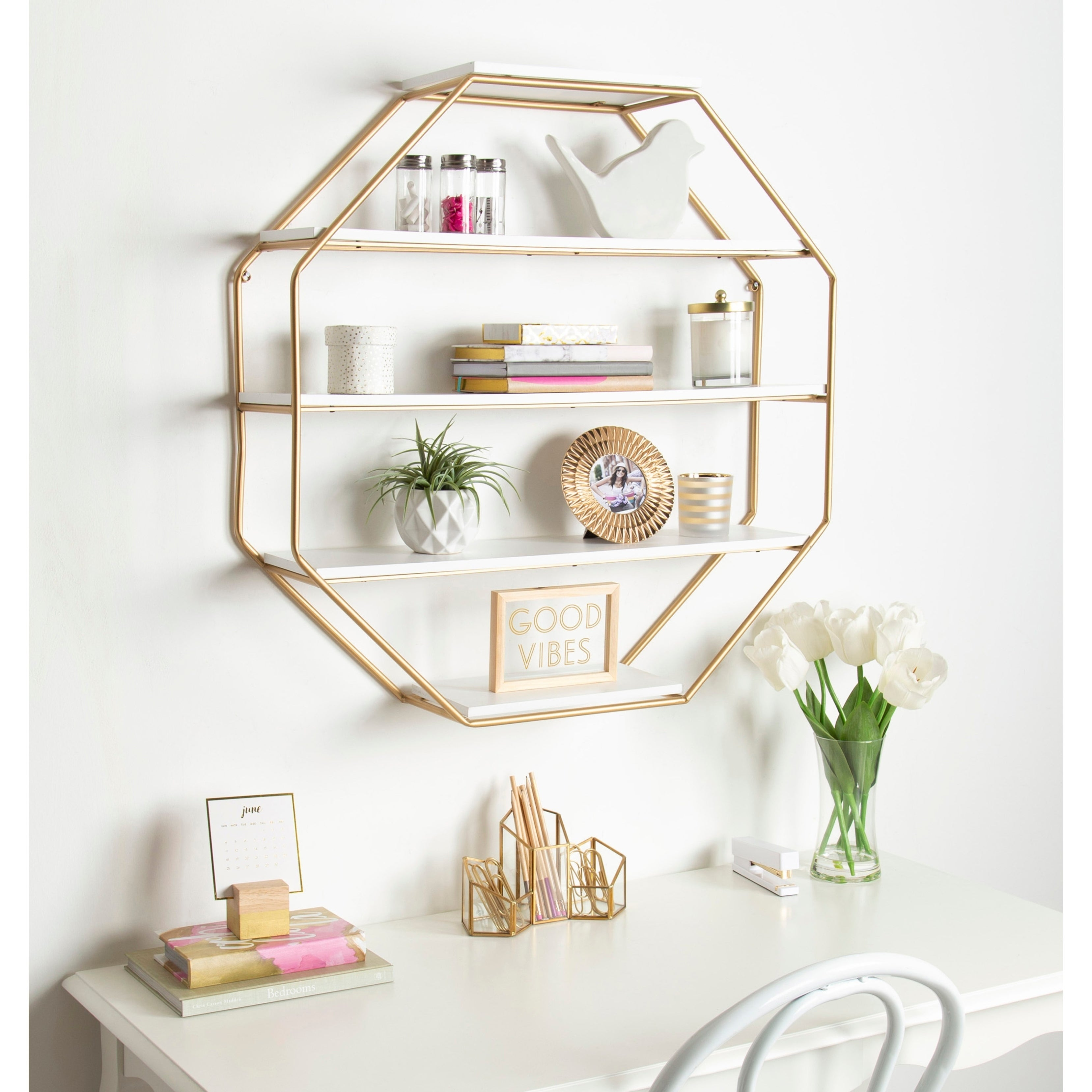 Kate and Laurel Lintz Wood Octagon Floating Wall Shelves