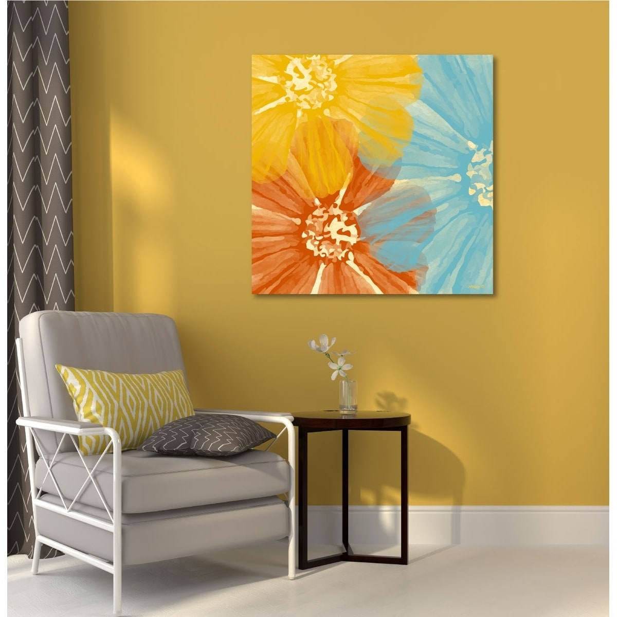 Shop Courtside Market Three Flower Canvas Wall Art - 16X16 - Free ...