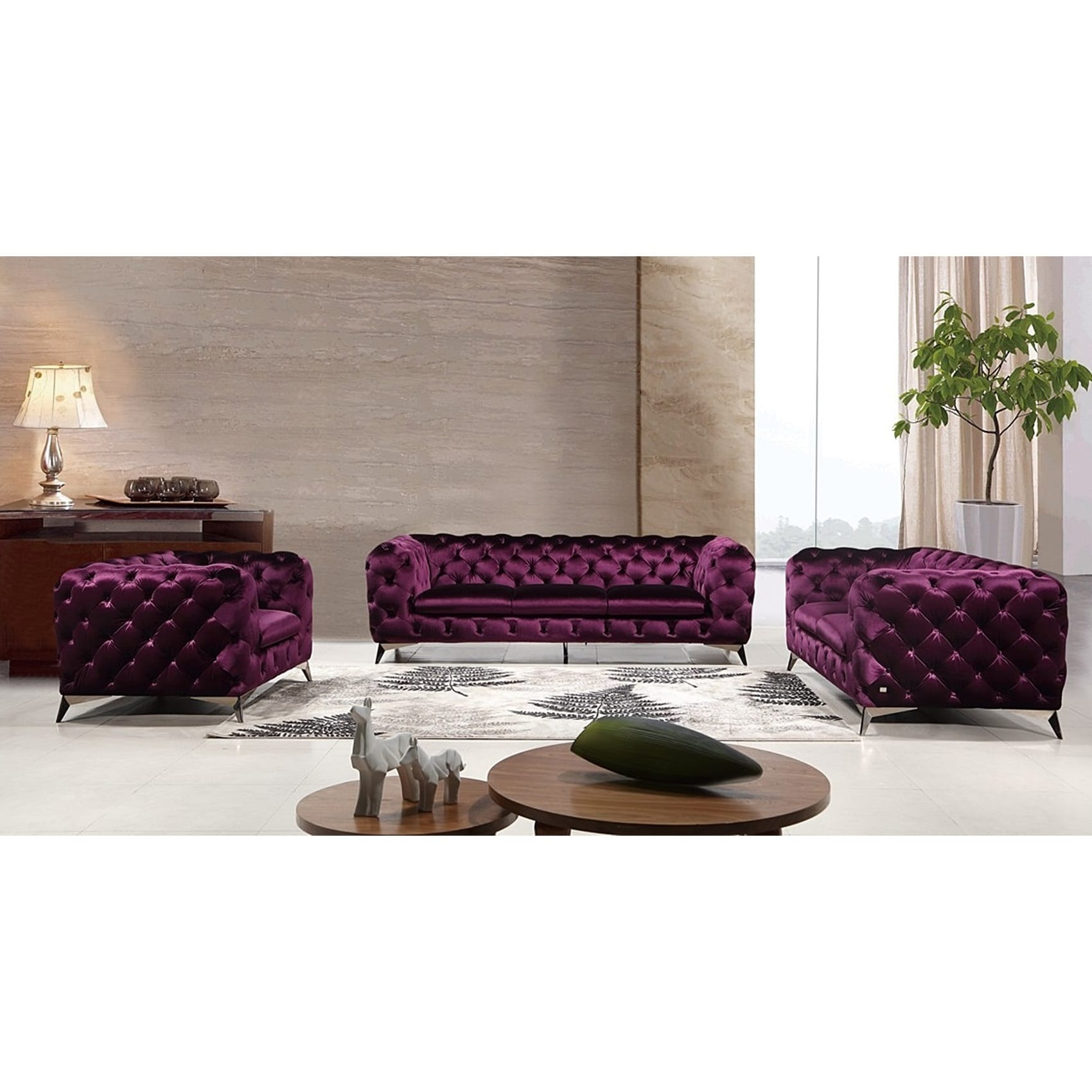 Portaleno Modern Purple Fabric Tufted Living Room Set Free