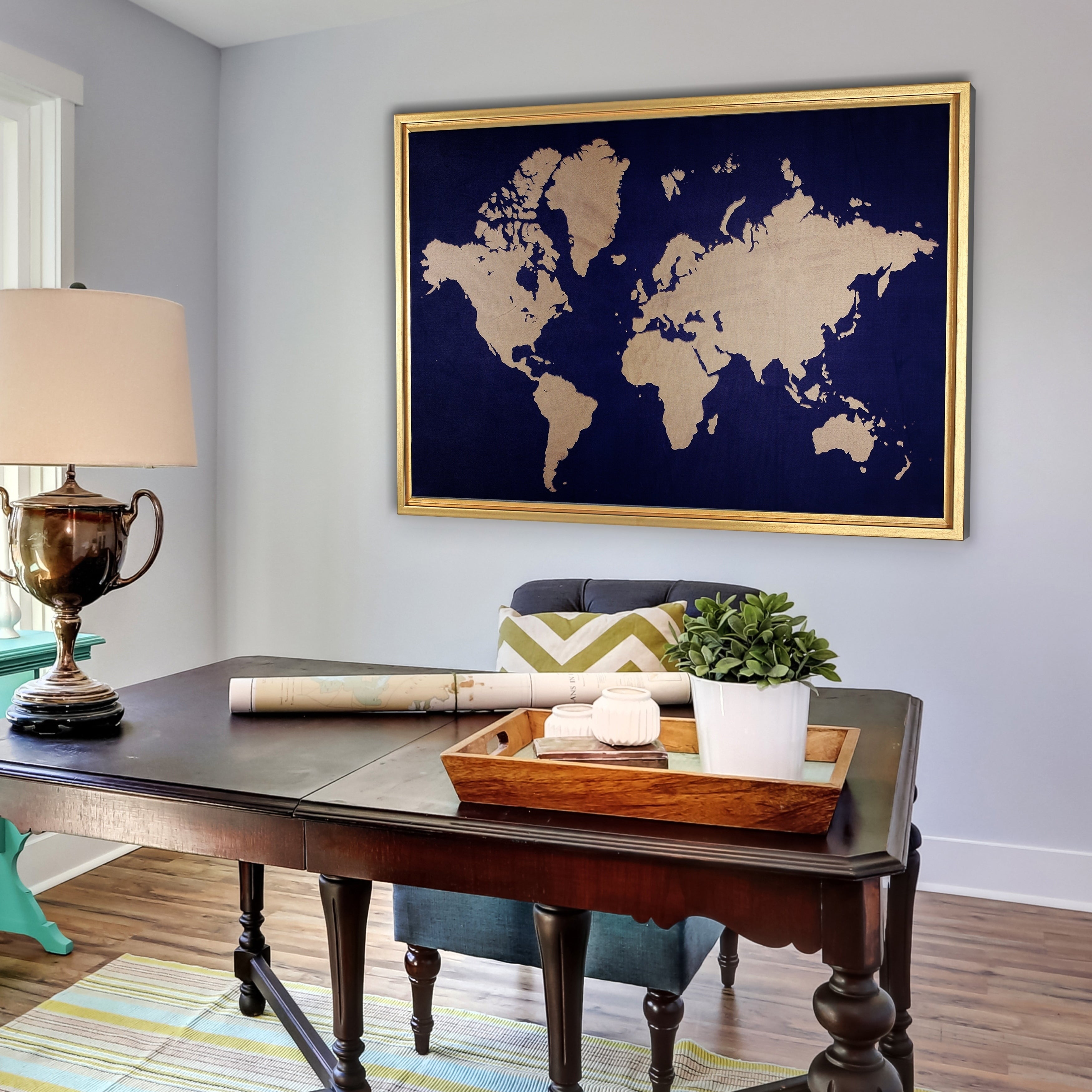 Framed Navy & Gold World Map  Free Shipping Today