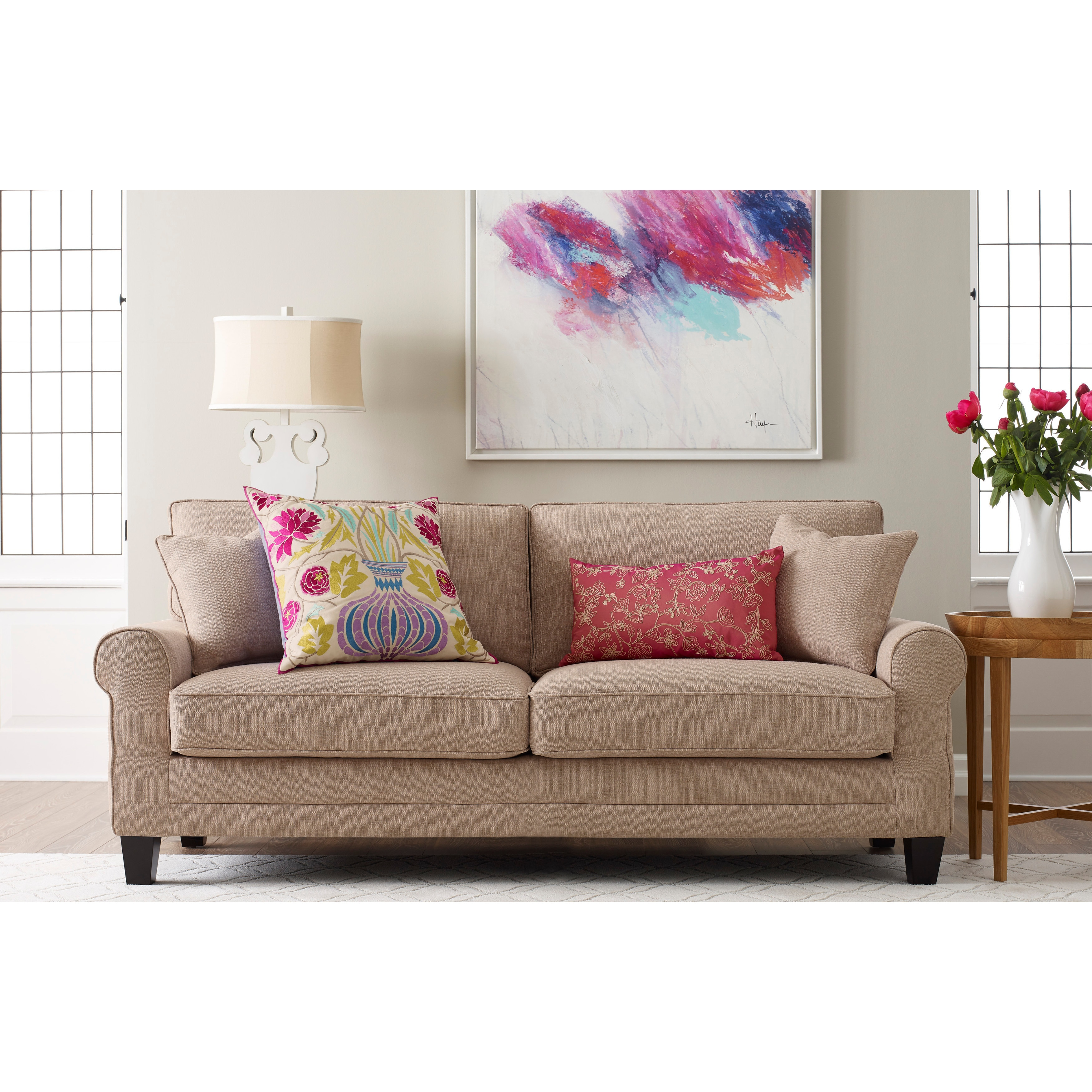 Charmant Shop Serta Copenhagen Microfiber 73 Inch Deep Seating Sofa   Free Shipping  Today   Overstock.com   16796079
