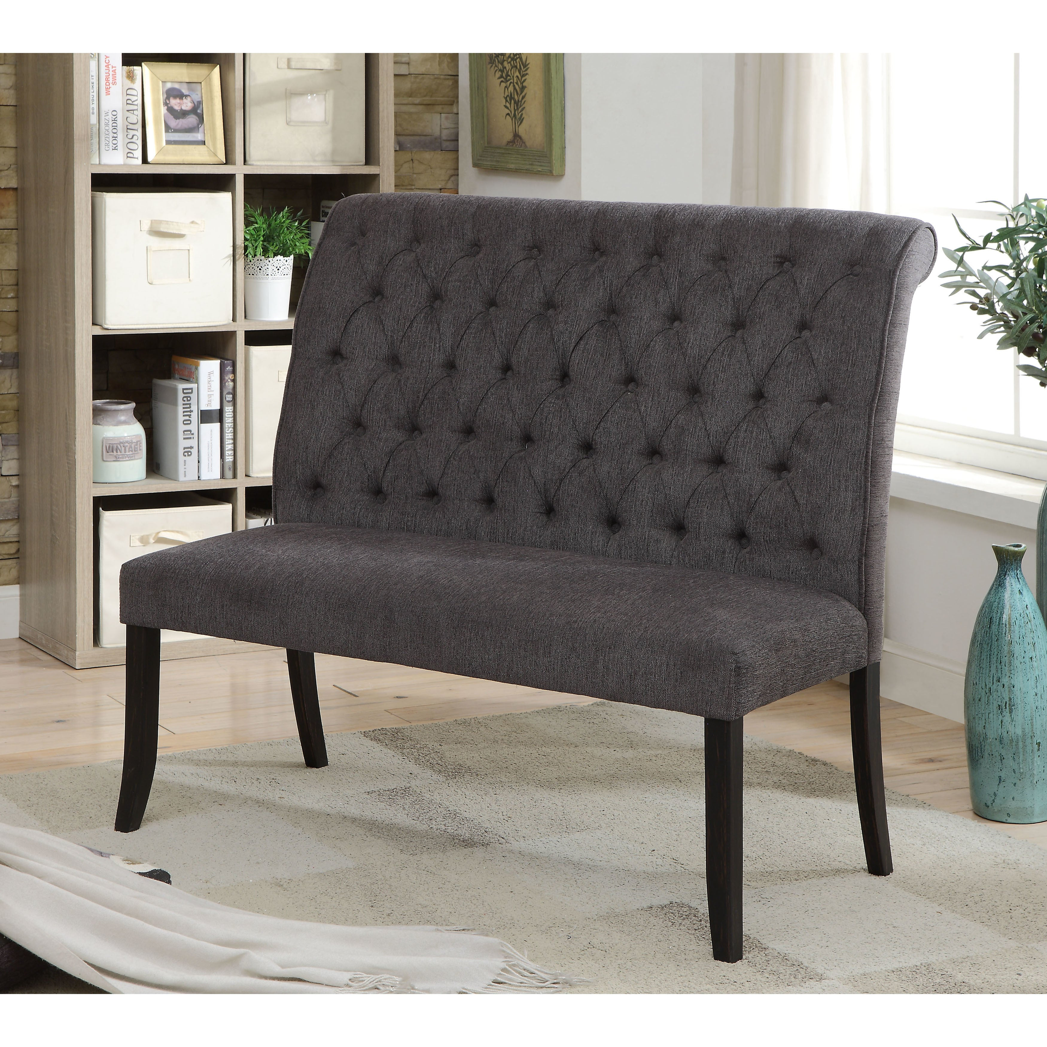 Furniture Of America Sheila Contemporary Button Tufted Chenille 2 Seater Dining  Bench   Free Shipping Today   Overstock.com   23103486