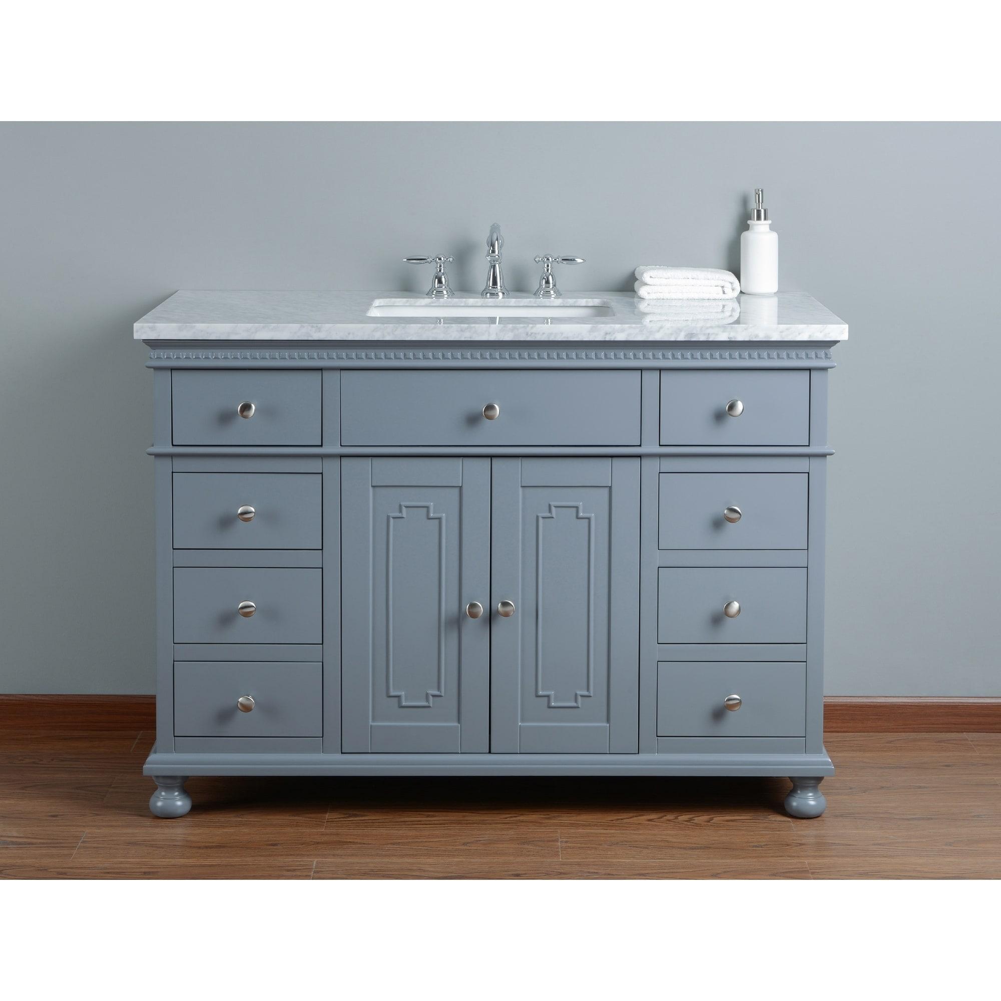 Shop Stufurhome Abigail Embellished 48 in. Grey Single Sink Bathroom ...