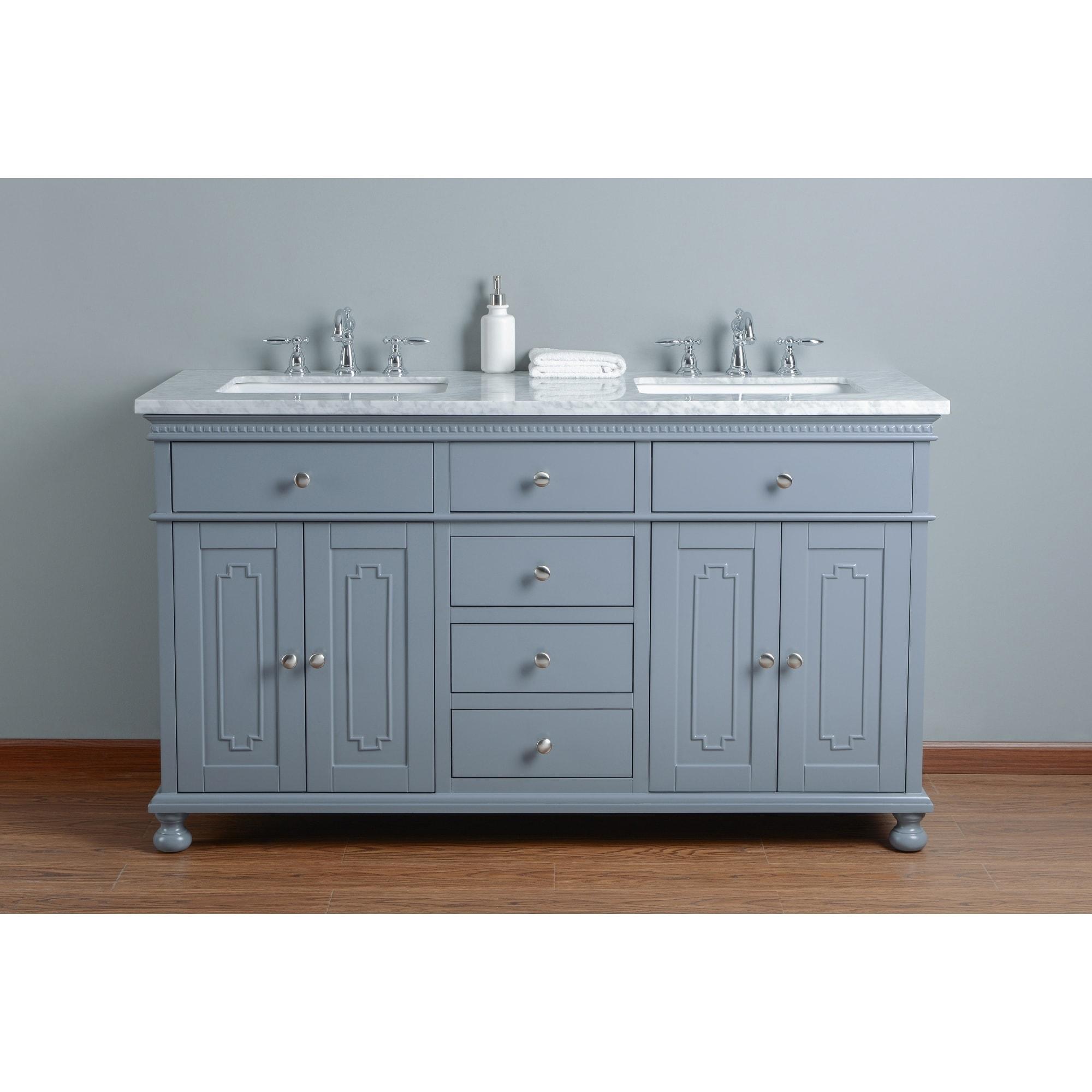 Stufurhome Abigail Embellished 60 In Grey Double Sink Bathroom Vanity