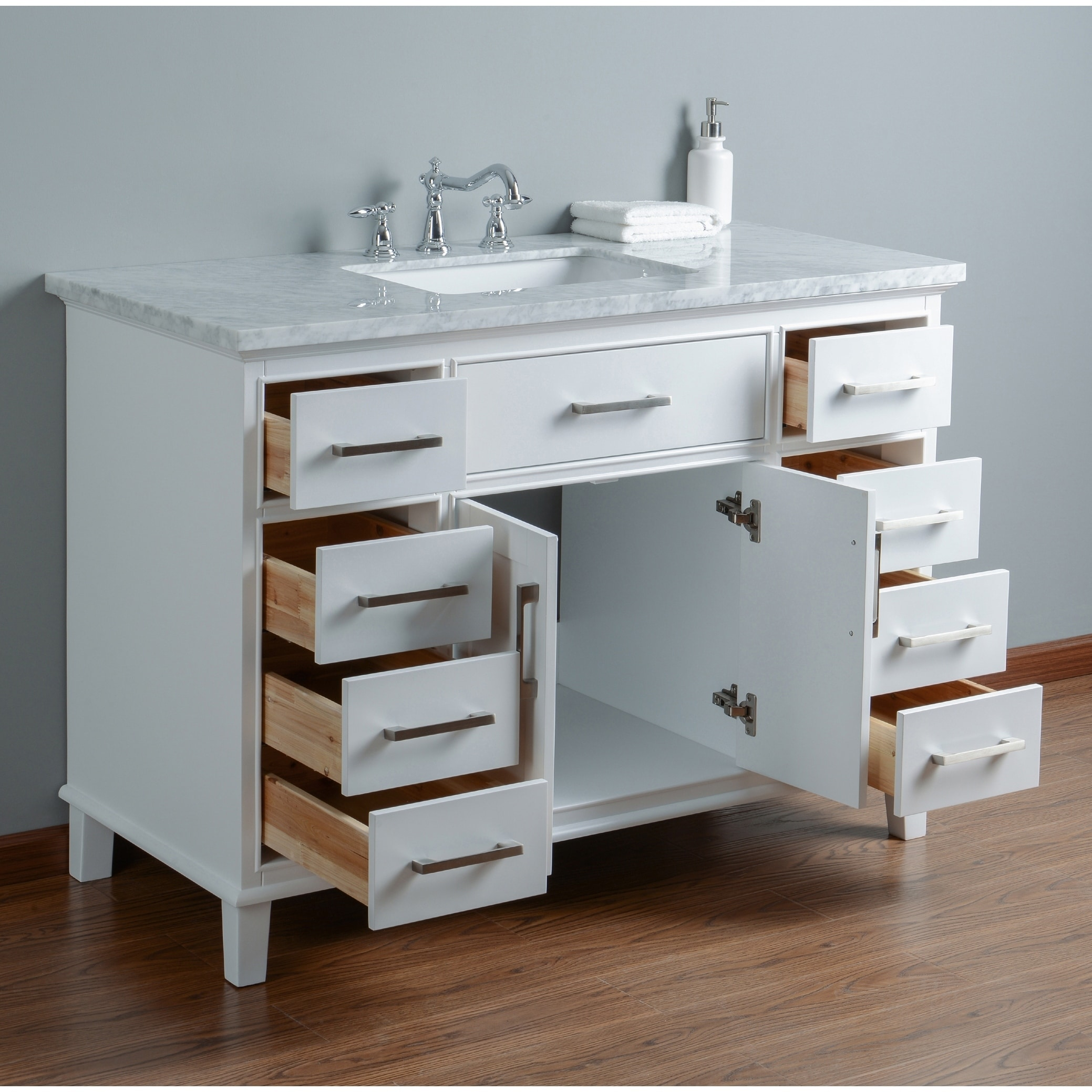 Shop Stufurhome Leigh 48 in. White Single Sink Bathroom Vanity ...