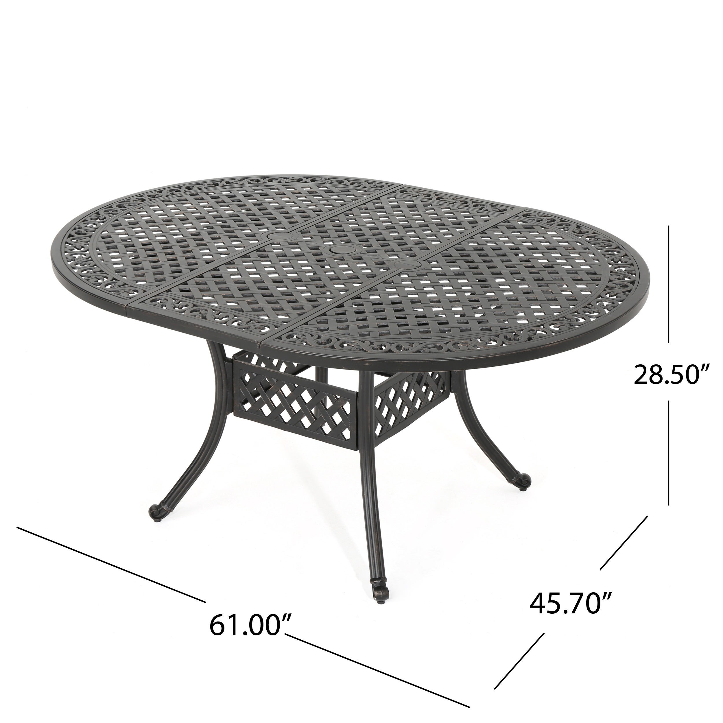 Windley Outdoor Expandable Aluminum Dining Set with Umbrella Hole ...