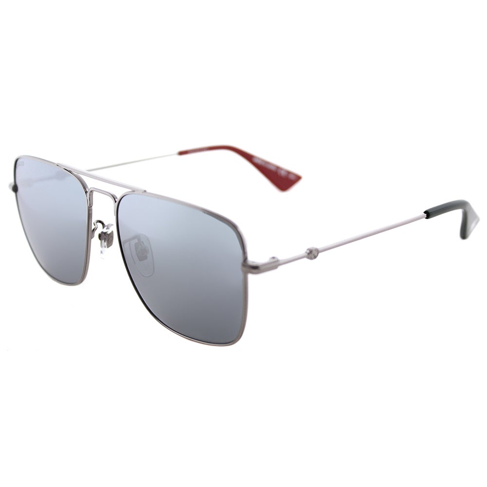 429ba06f8ae Shop Gucci Unisex Silver Frame Silver Mirror Lens Sunglasses - Free  Shipping Today - Overstock - 16802337
