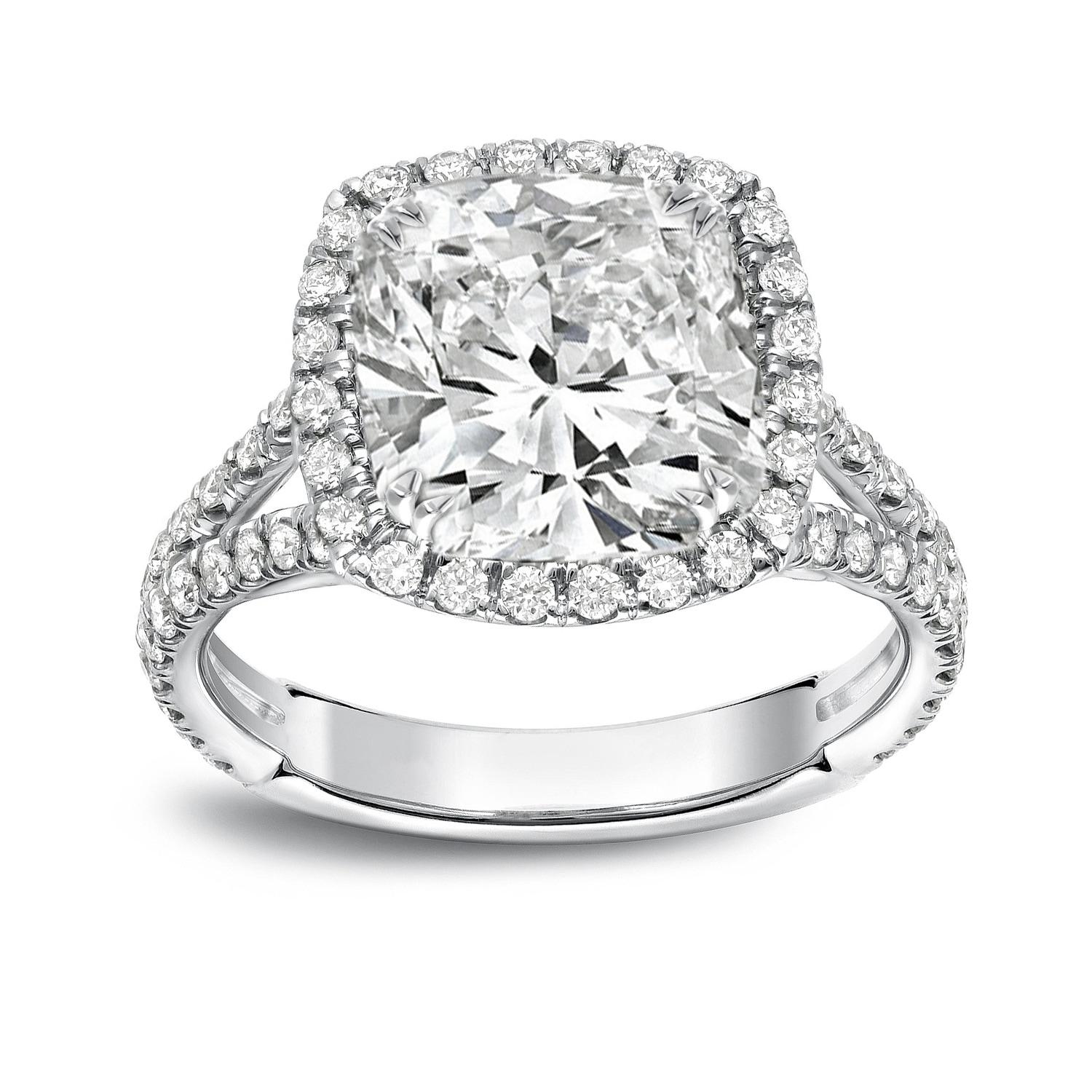 Auriya Platinum 4 1 3ctw Cushion Cut Halo Diamond Engagement Ring Certified