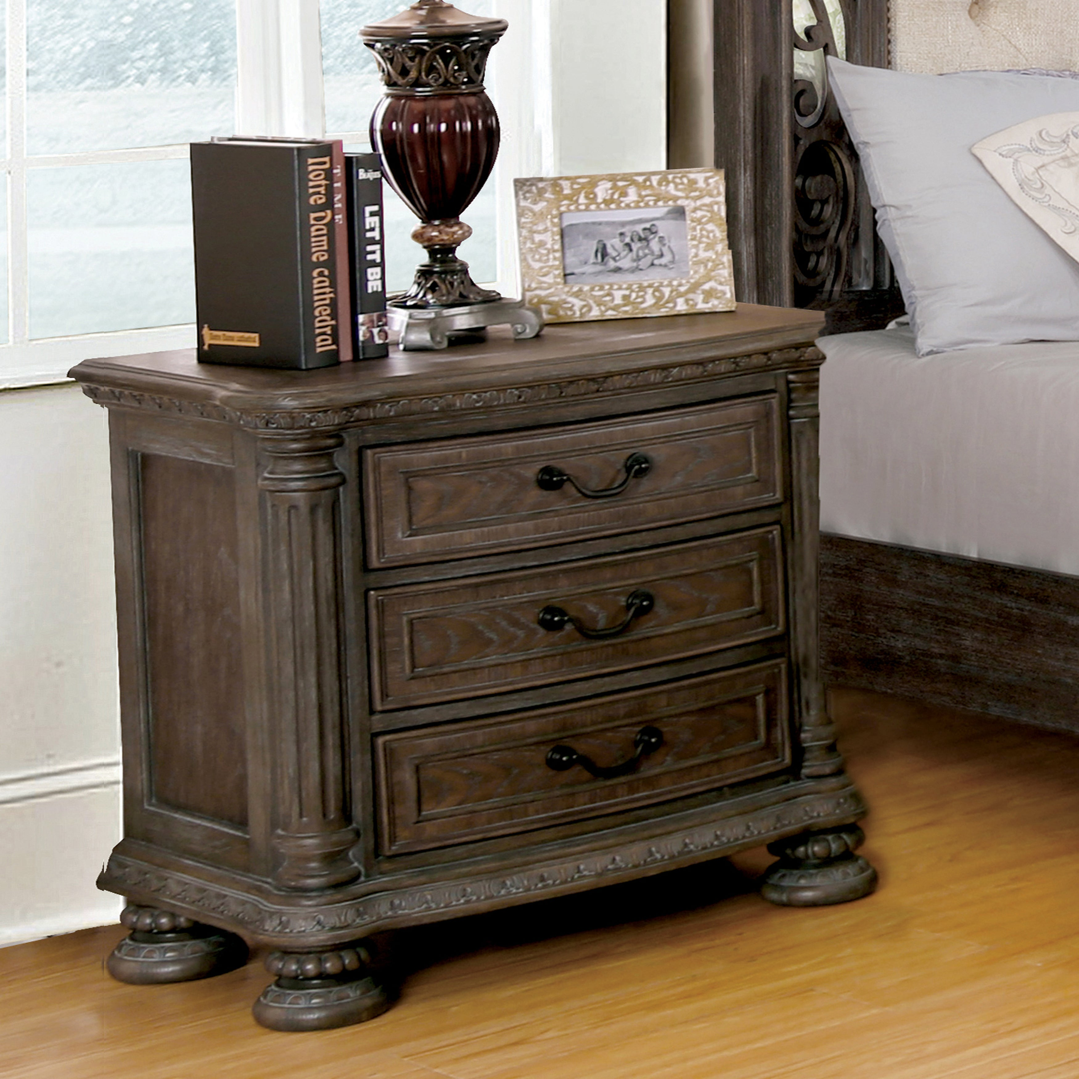 Furniture Of America Brigette III Traditional 4 Piece Ornate Rustic Sleigh  Bedroom Set   Free Shipping Today   Overstock.com   23109773