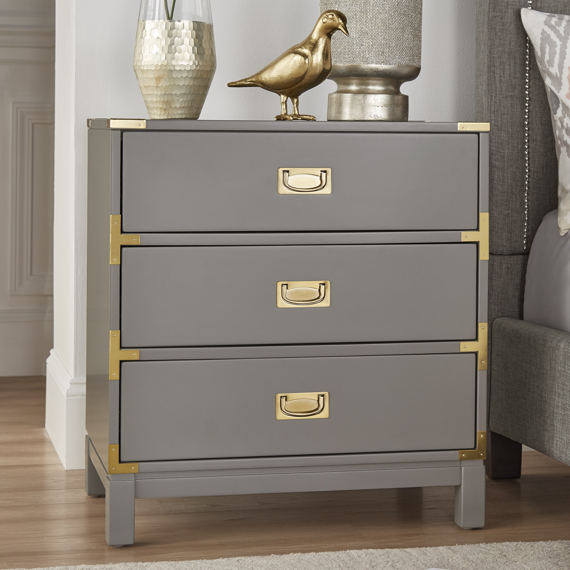 Kedric 3-Drawer Gold Accent End Table Nightstand by iNSPIRE Q Bold - Free  Shipping Today - Overstock.com - 23109784