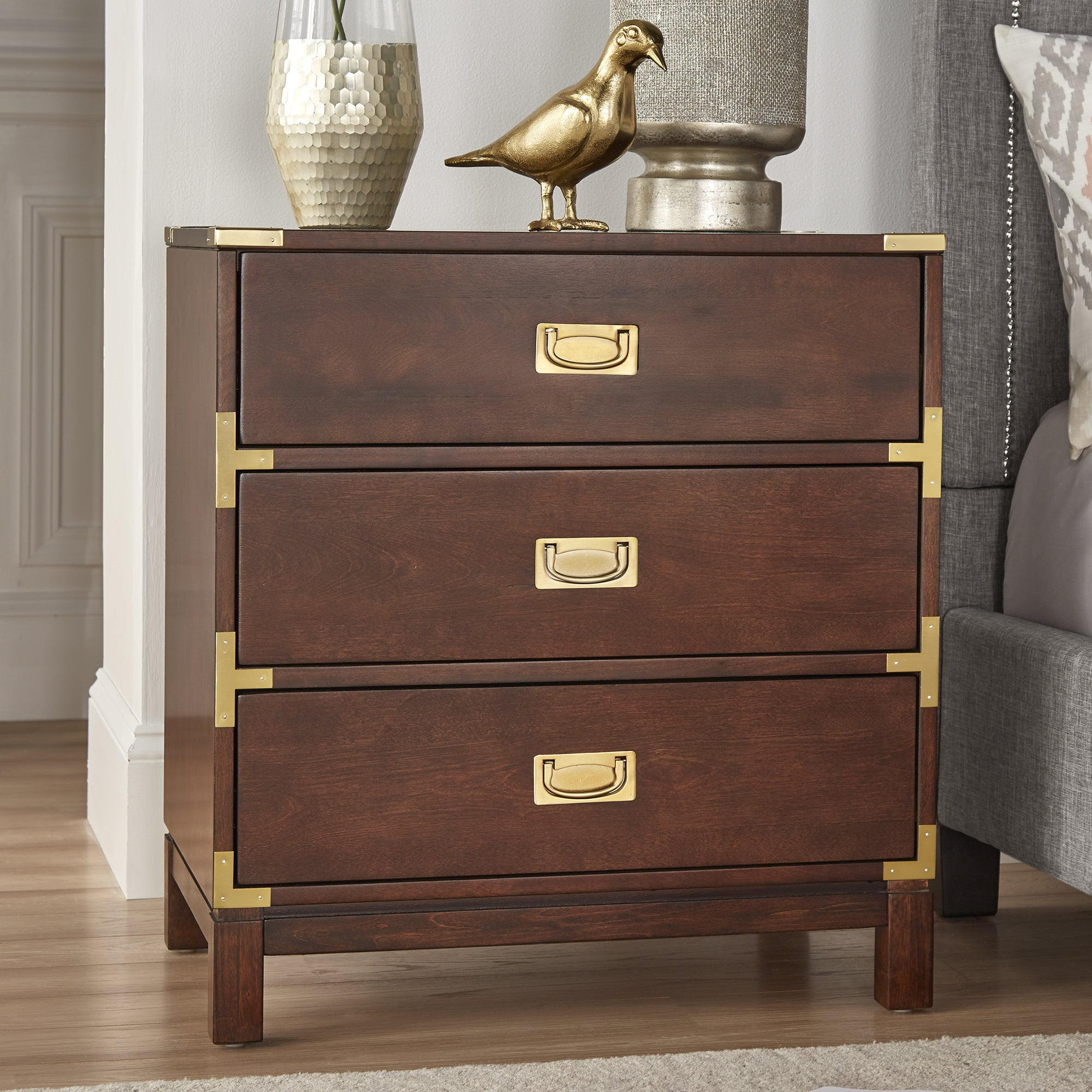 Kedric 3 Drawer Gold Accent End Table Nightstand by iNSPIRE Q Bold