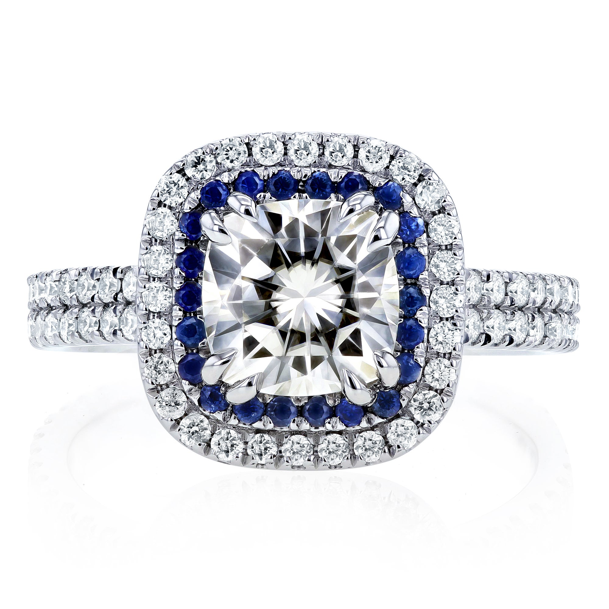 sapphire with eg cushion set ctw and moissanite a doubleprong diamond rings platinum in bridal