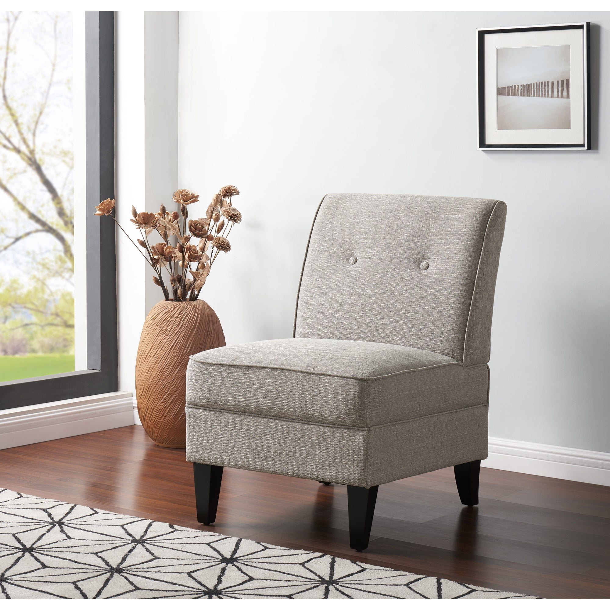 Gentil Handy Living Courtney Dove Grey Linen Armless Chair   Free Shipping Today    Overstock   23110832