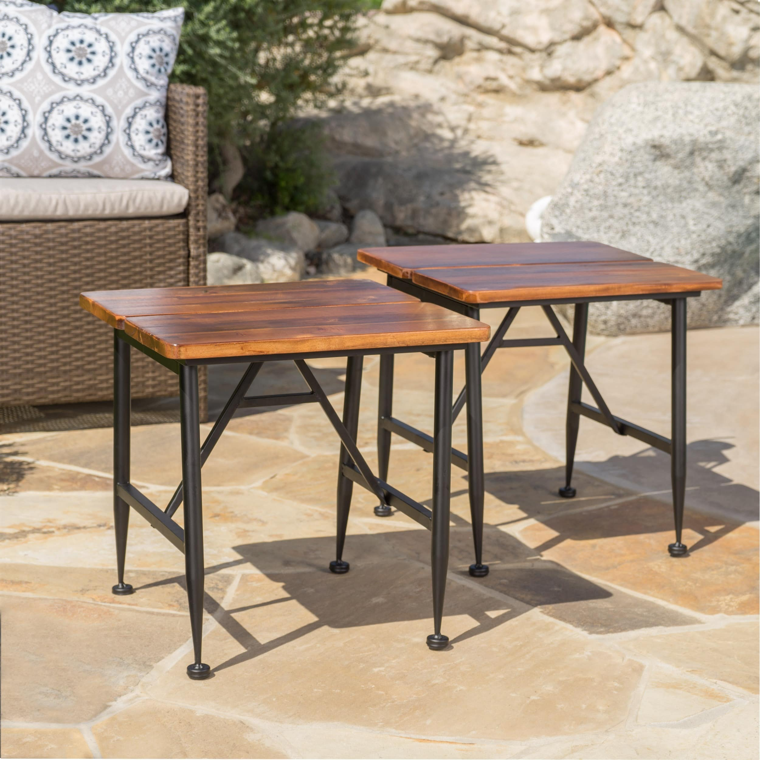 Eleanora Outdoor Acacia Wood End Table (Set Of 2) By Christopher Knight  Home   Free Shipping Today   Overstock   23111982