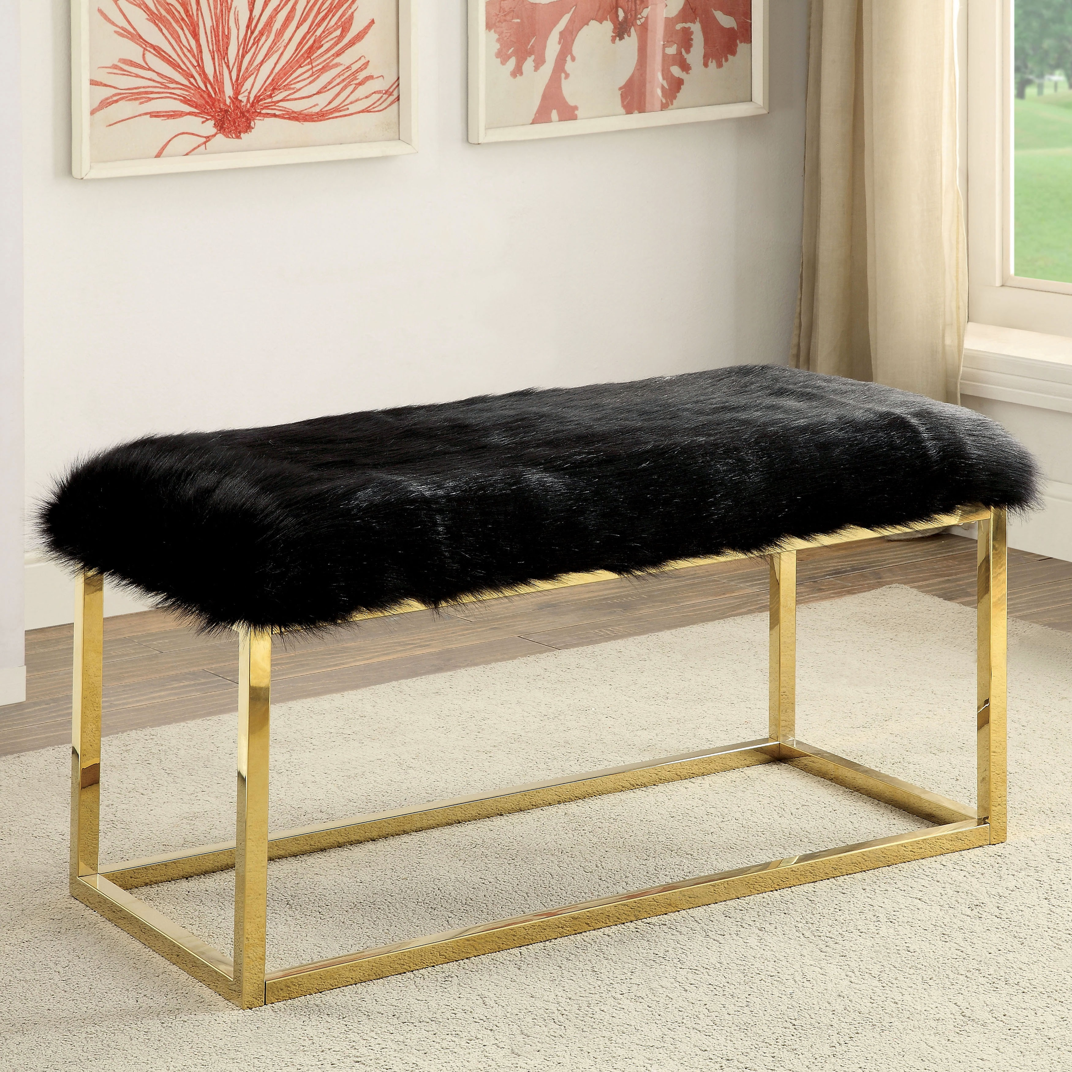 Shop Furniture Of America Tula Contemporary Champagne Fur Like