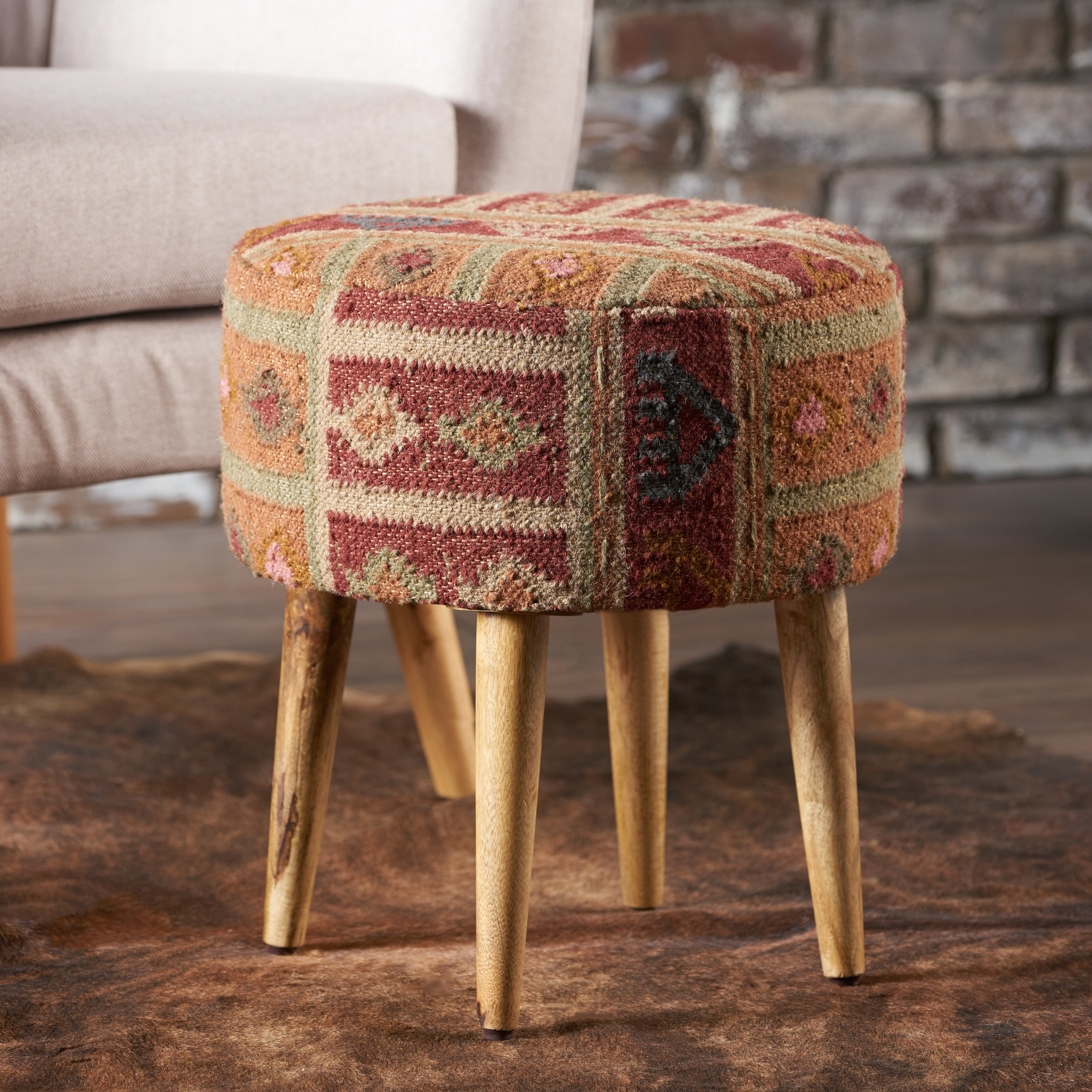 Shop Misha Round Patterned Fabric Ottoman Stool by Christopher ...