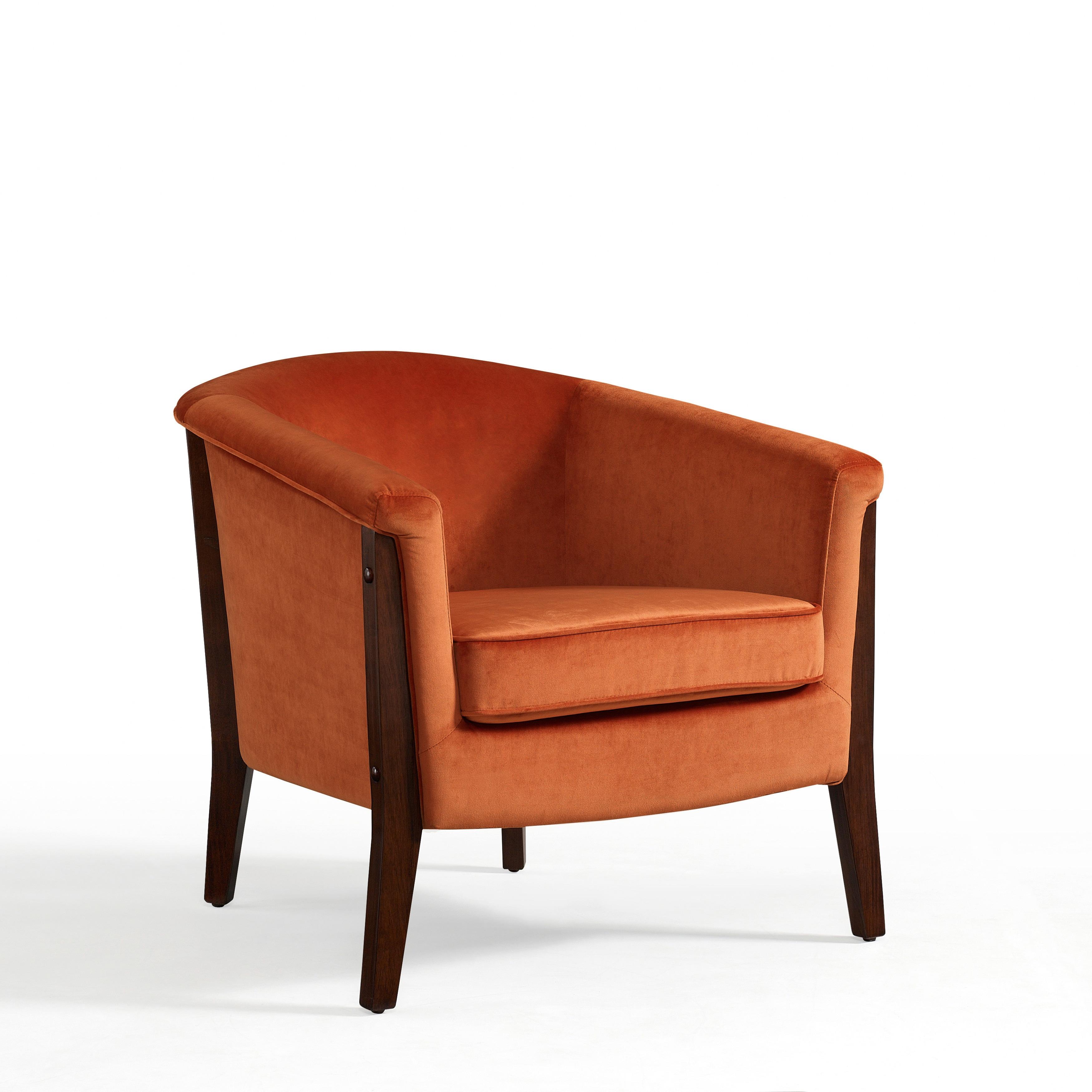 Clay Alder Home Canterbury Club Chair Rust Orange Velvet