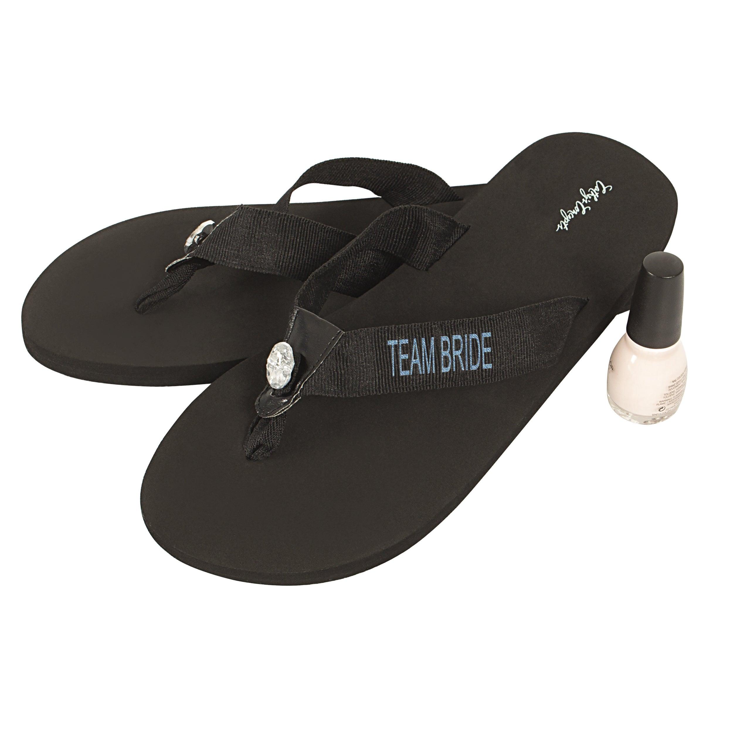 bdacdefa3aa44 Shop Team Bride Black Flip Flops - Free Shipping On Orders Over  45 -  Overstock - 16818509