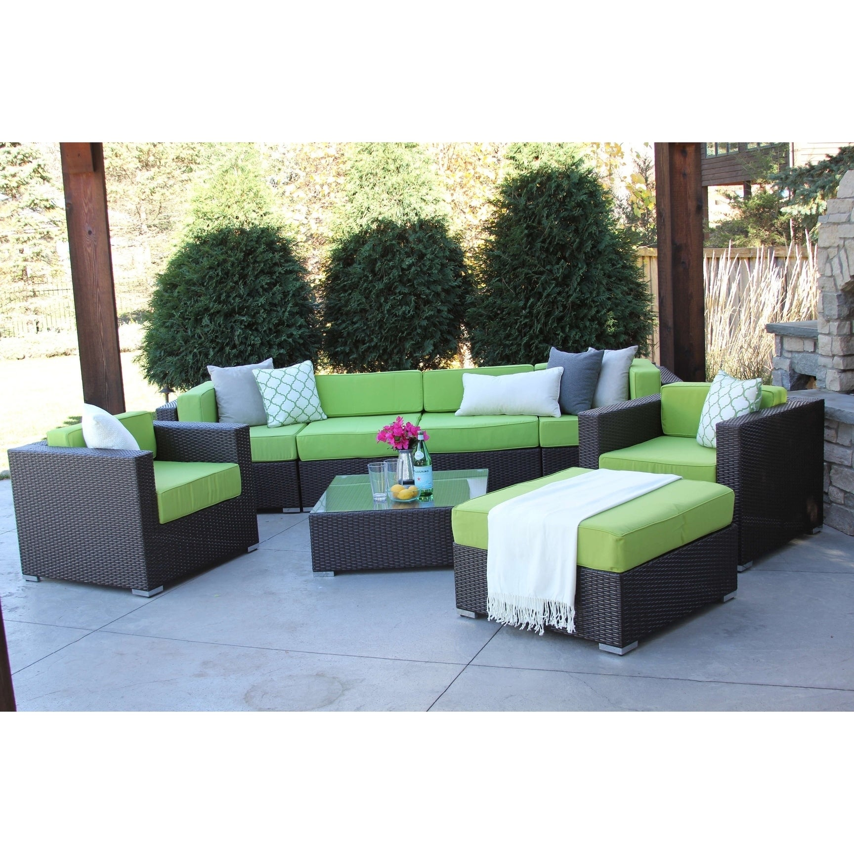 Hiawatha 8 pc modern outdoor rattan patio furniture sofa set modular