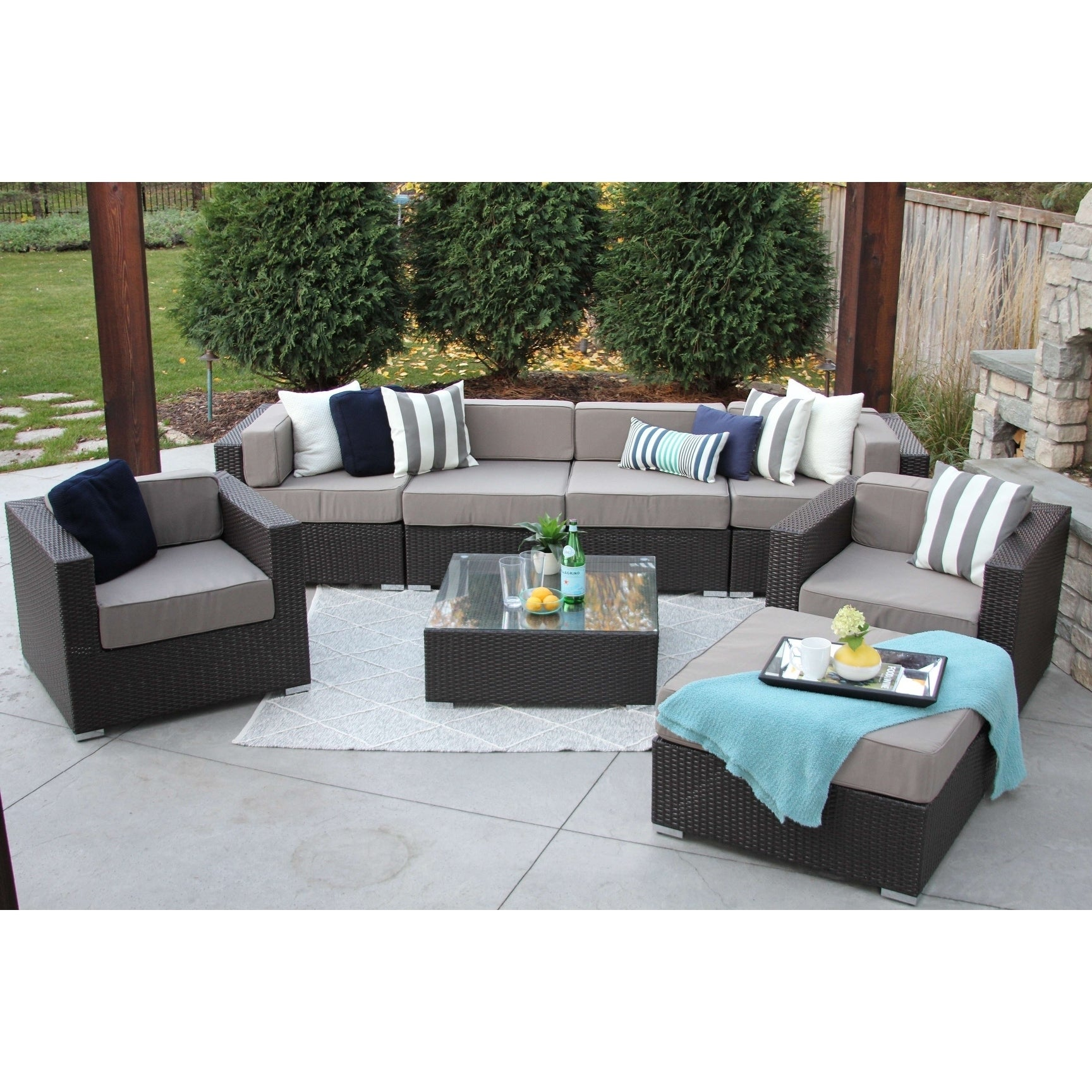 Shop Hiawatha 8-PC Modern Outdoor Rattan Patio Furniture Sofa Set ...