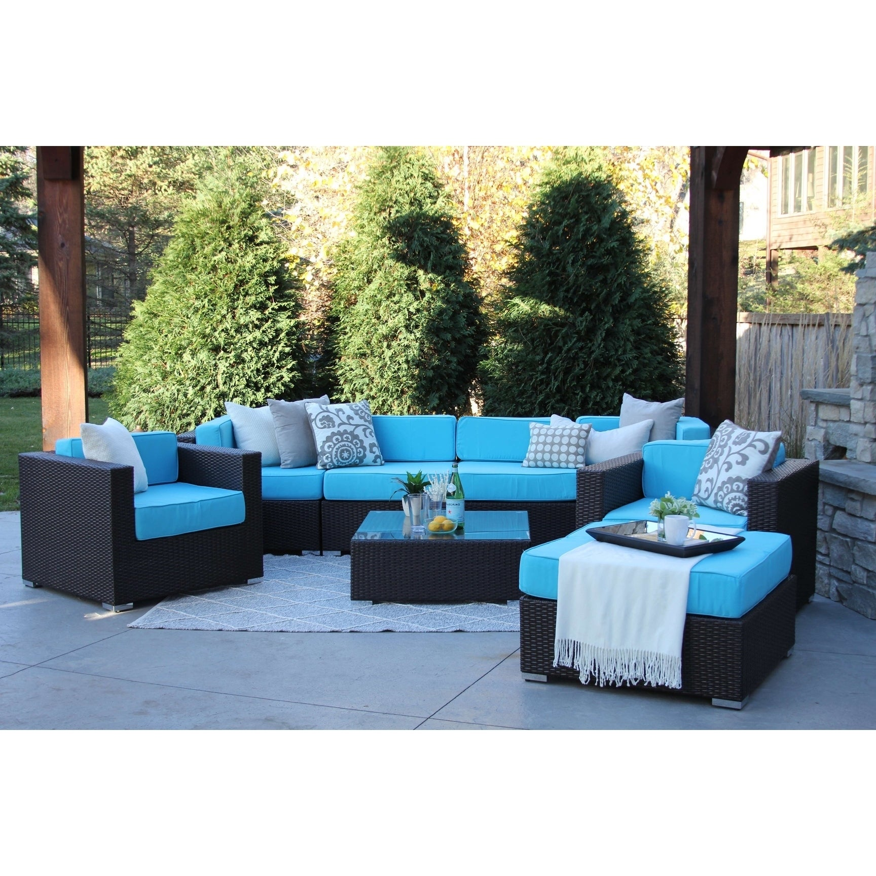 Hiawatha 8 PC Modern Outdoor Rattan Patio Furniture Sofa Set
