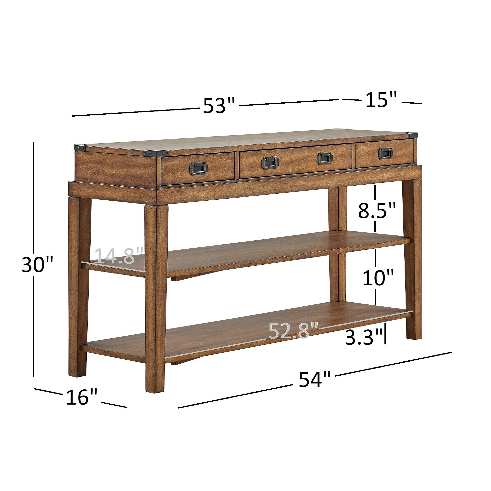 Lonny 3Drawer Wood Console Table TV Stand by iNSPIRE Q Classic