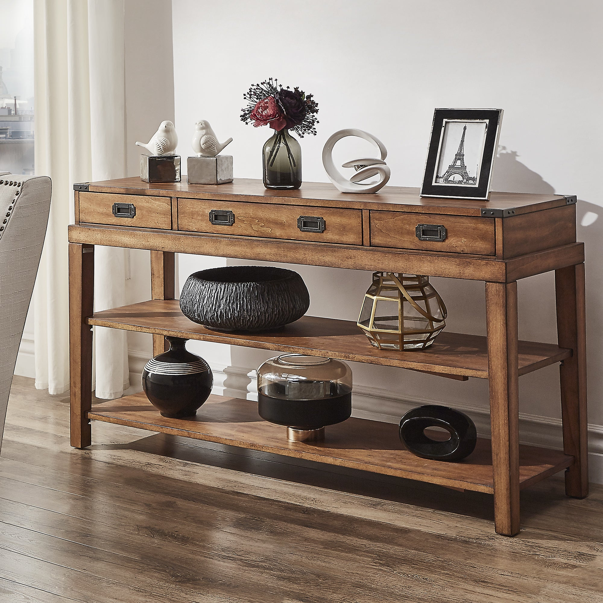 Shop Lonny 3 Drawer Wood Console Table TV Stand By INSPIRE Q Classic   On  Sale   Free Shipping Today   Overstock.com   16820122