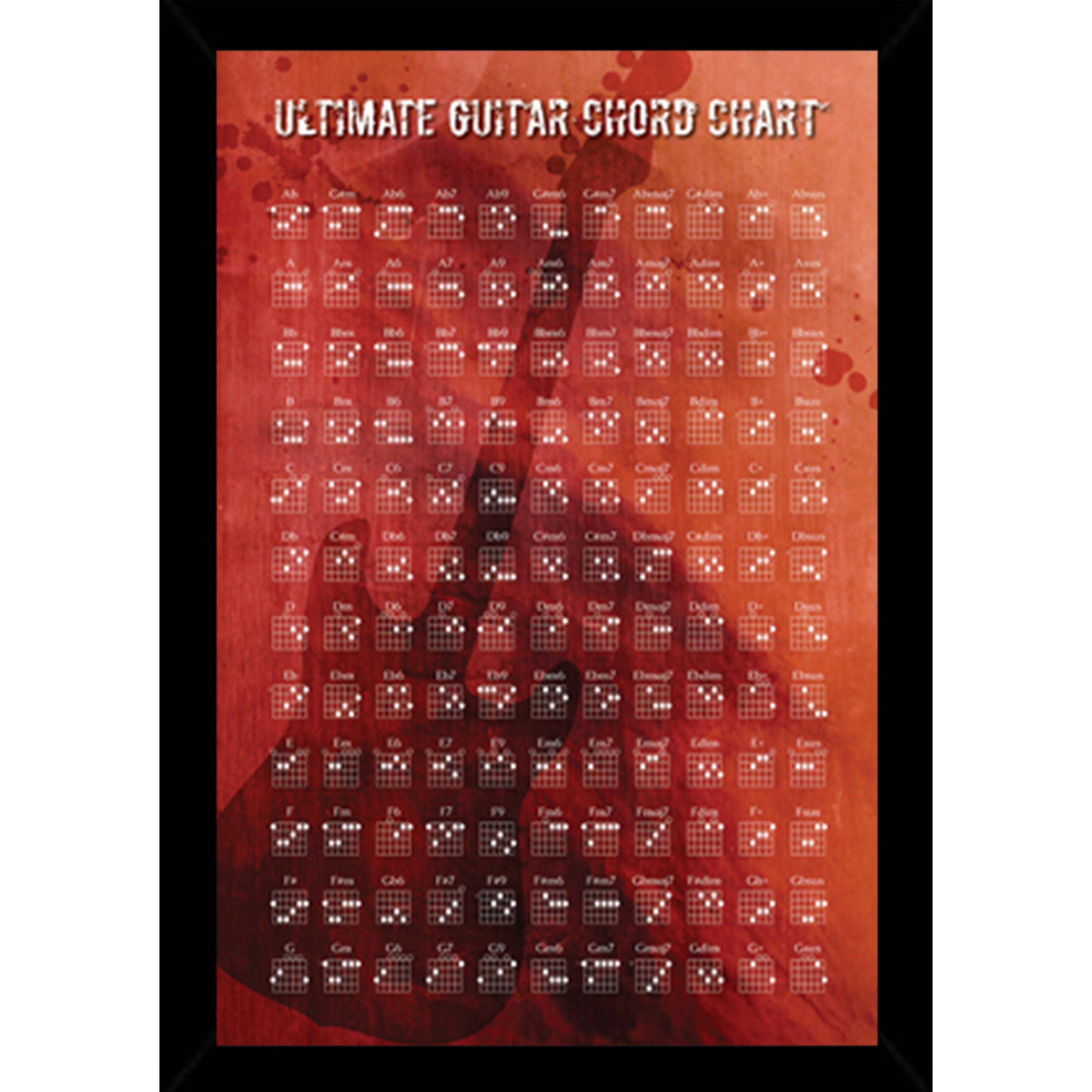 Shop Guitar Chords Chart Poster With Choice Of Frame 24x36 Free