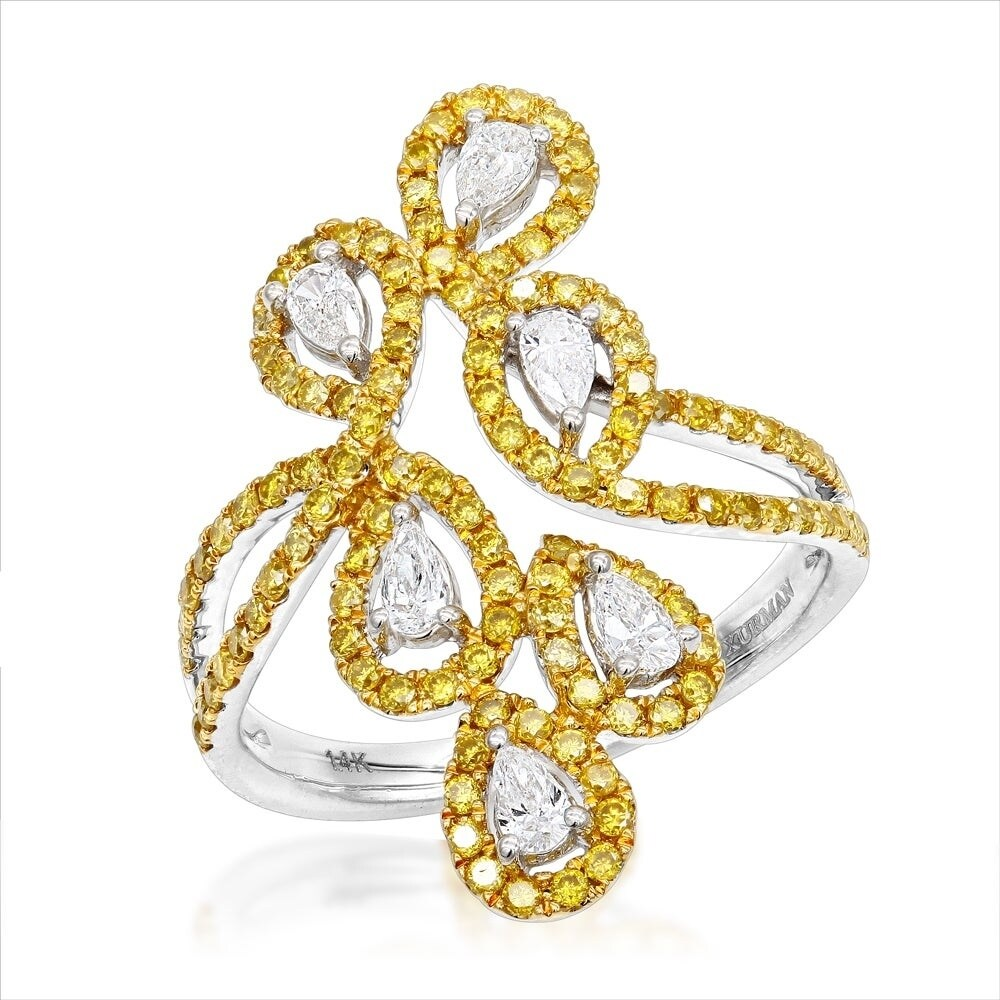 1595ea5a342 Luxurman Designer 14K Gold White Yellow Pear Round Diamond Cocktail Ring  for Women 1.15ct
