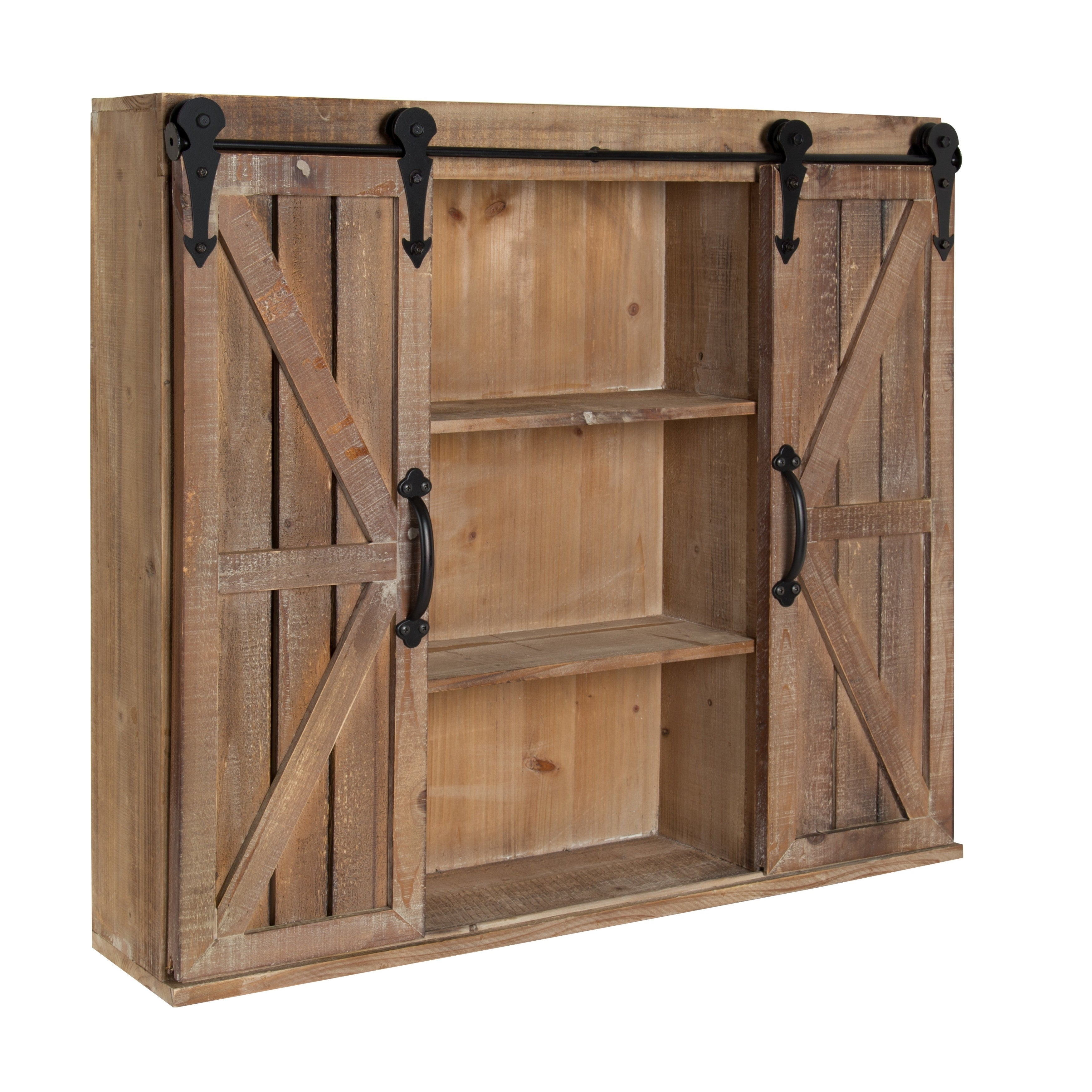 Shop kate and laurel cates rustic wood wall storage cabinet with barn doors free shipping today overstock com 16838745