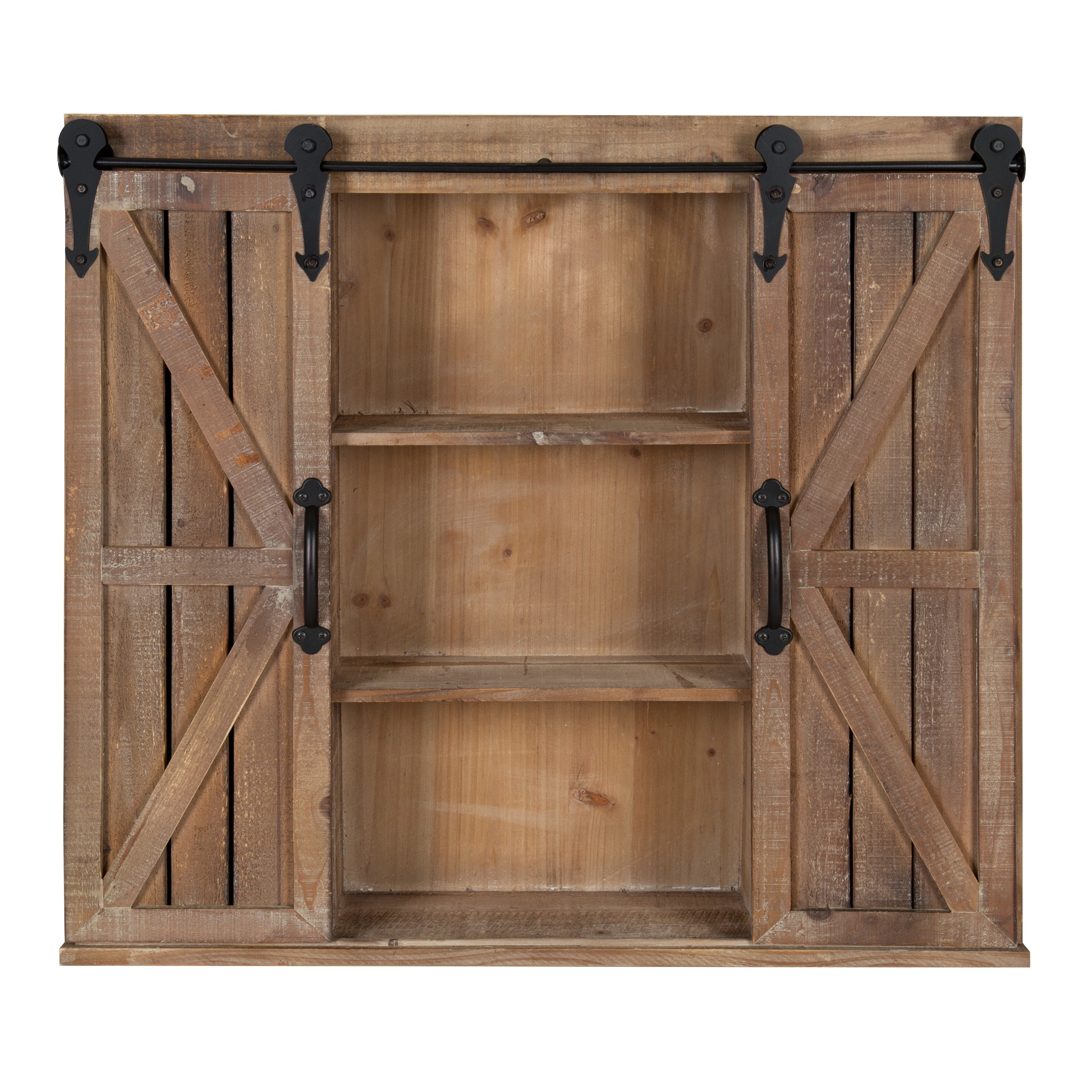 Kate And Laurel Cates Brown Wood Rustic Wall Storage Cabinet With Sliding  Barn Doors   Free Shipping Today   Overstock.com   23139013
