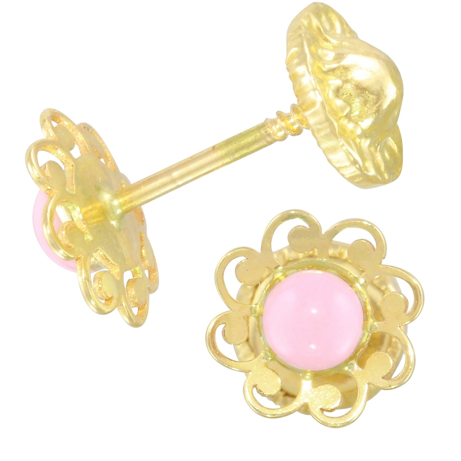 Shop 14k Yellow Gold Flower Earrings Free Shipping Today