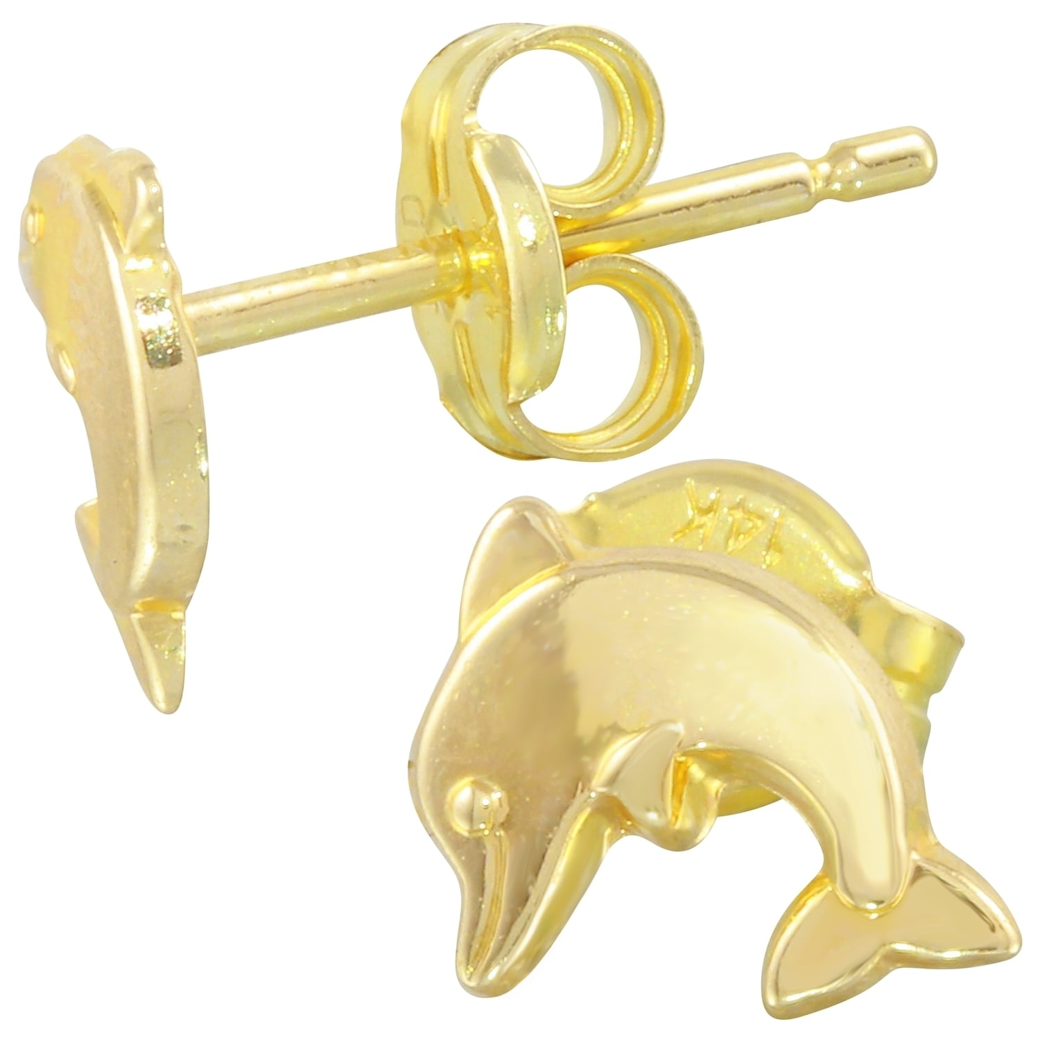 14k Yellow Gold Dolphin Earrings Free Shipping Today 16838781