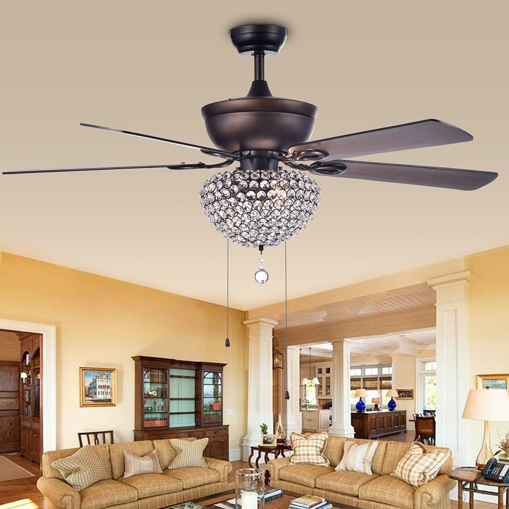 Swarna Antique Bronze 3 Light Metal/ Crystal 5 Blade 52 Inch Ceiling Fan  (Remote Optional)   Free Shipping Today   Overstock.com   23145804