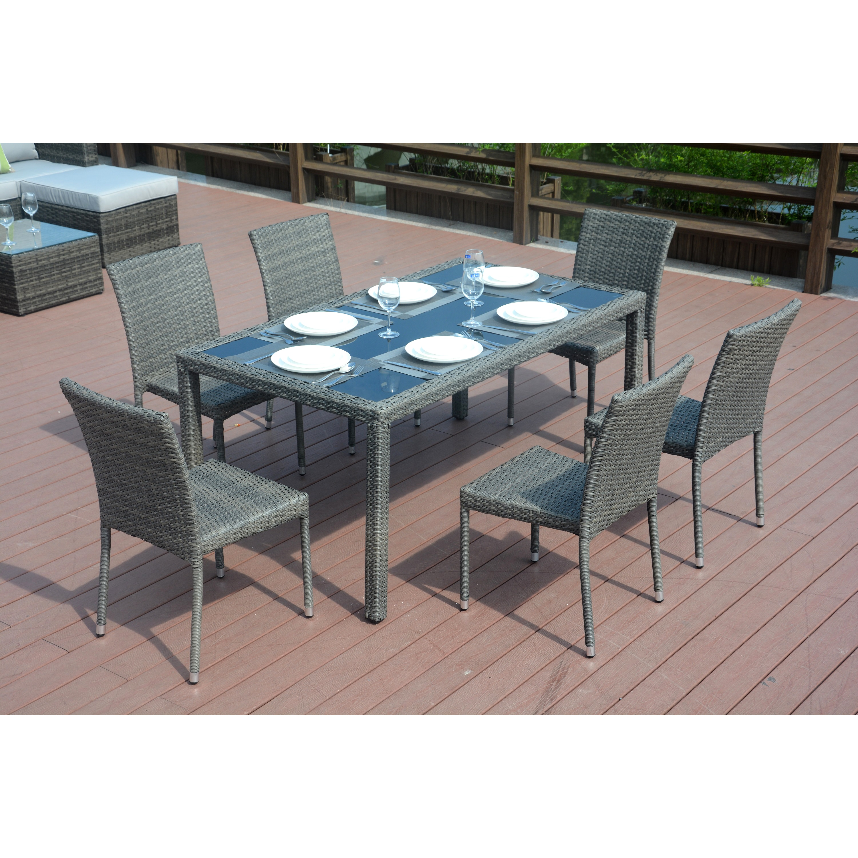 Shop Emily Grey Wicker 7 Piece Dining Set With 8 Foot Cantilever Umbrella  By Direct Wicker   Free Shipping Today   Overstock.com   16846559