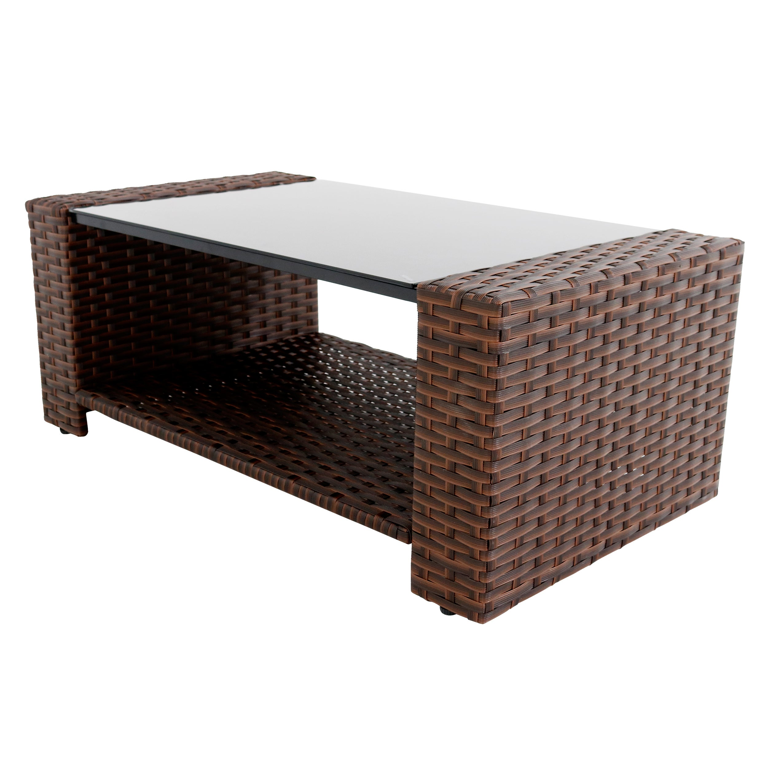 Prima Outdoor Brown Rattan shelled Stainless Steel Glass top