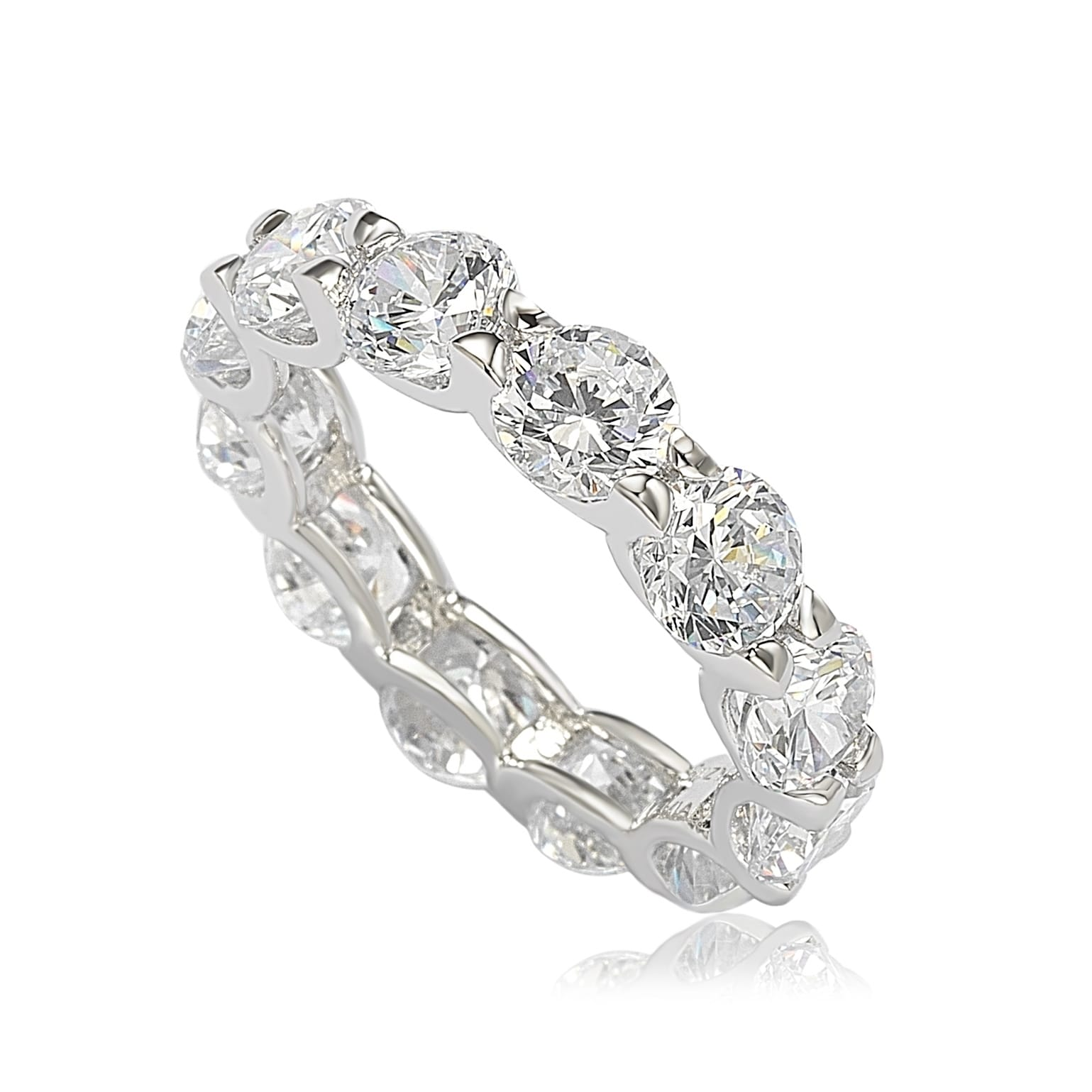 eternity set product sterling qvc and cubic round zirconia diamonique com bands of baguette band page