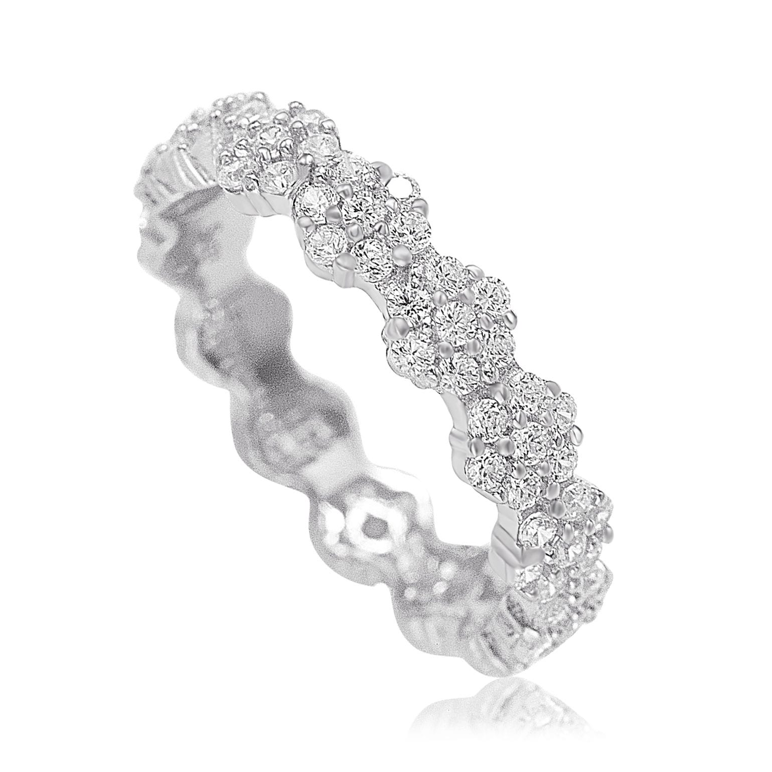 tina paved wide eternity pin cluster band ring cubic bands zirconia