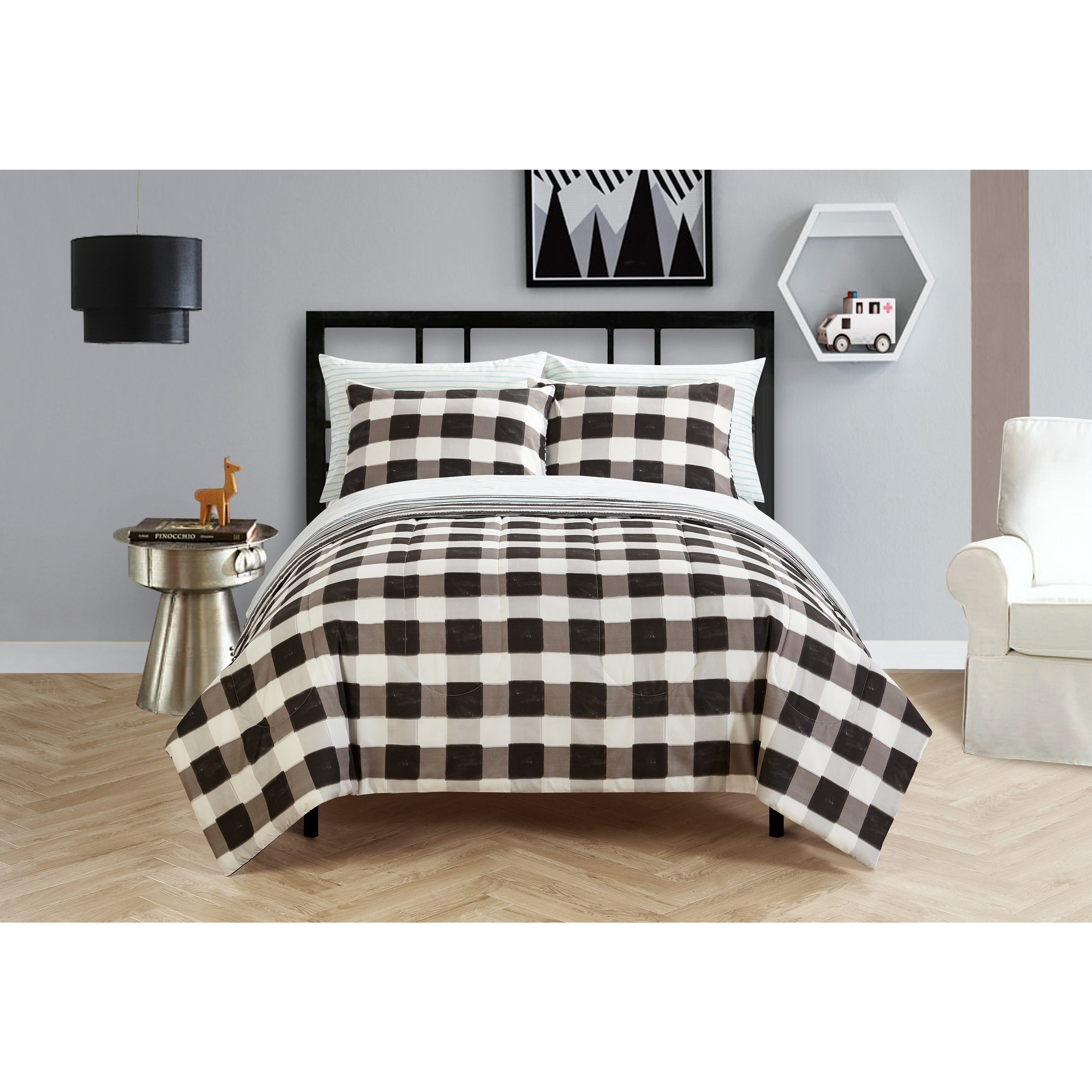 Shop Black And White Checkered Bed In A Bag Free Shipping On