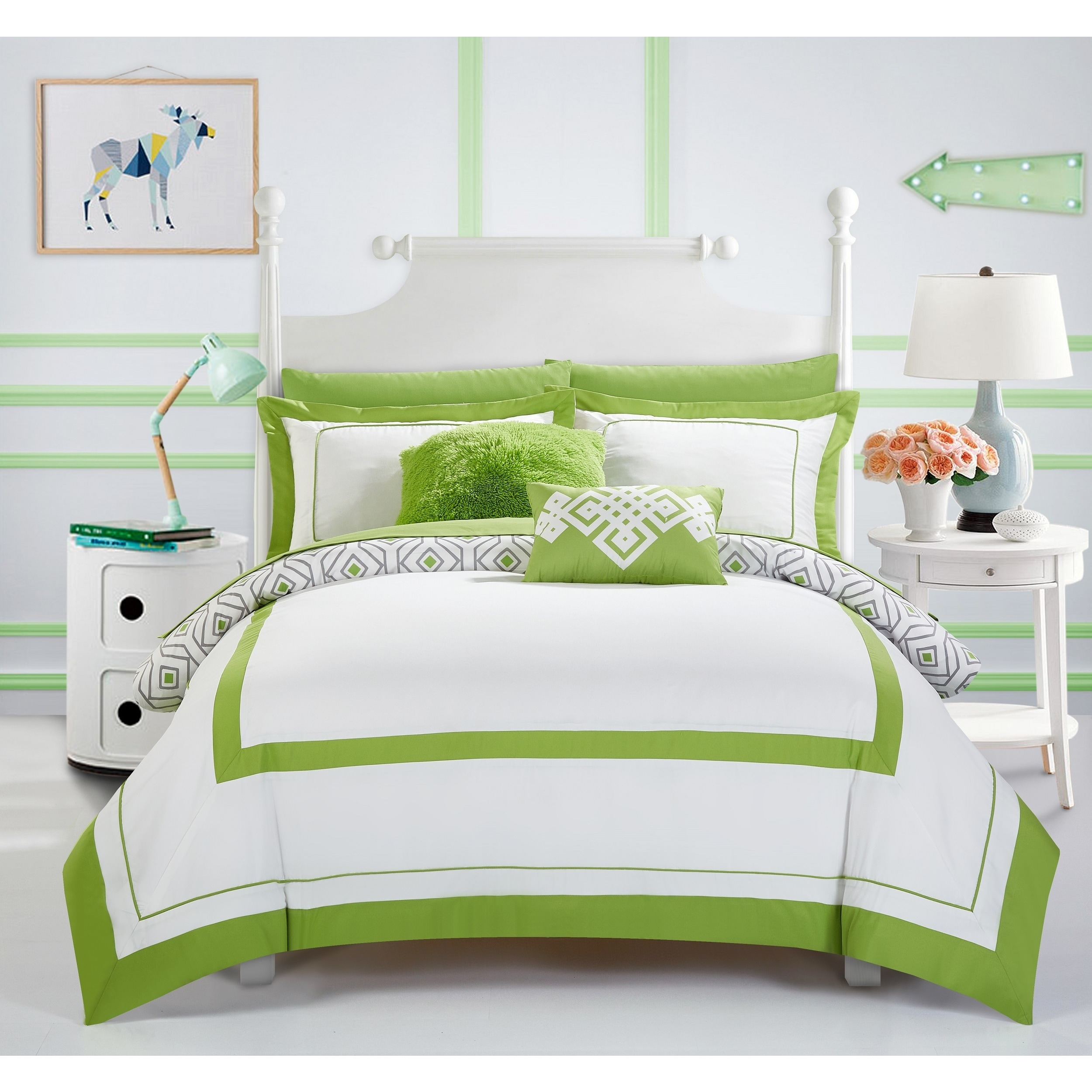 Chic Home Alon Green 9 Piece plete Bed in a Bag Reversible