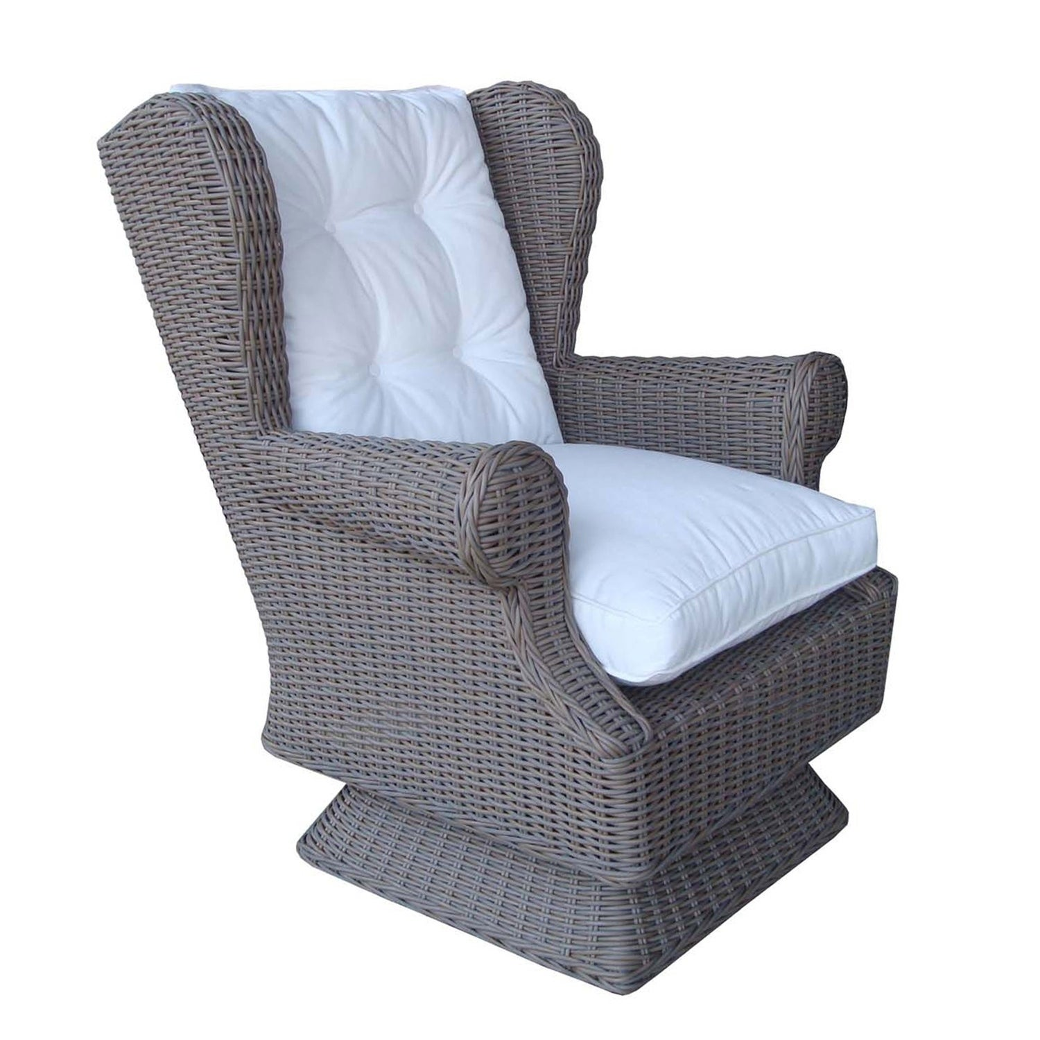 Shop Padmau0027s Plantation Vintage Kubo Grey Outdoor All Weather Wicker Swivel  And Rocking Chair   Free Shipping Today   Overstock.com   16849923