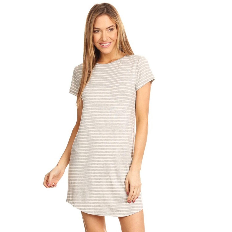 Shop Striped Short Sleeve Tunic T Shirt Dress Free Shipping On