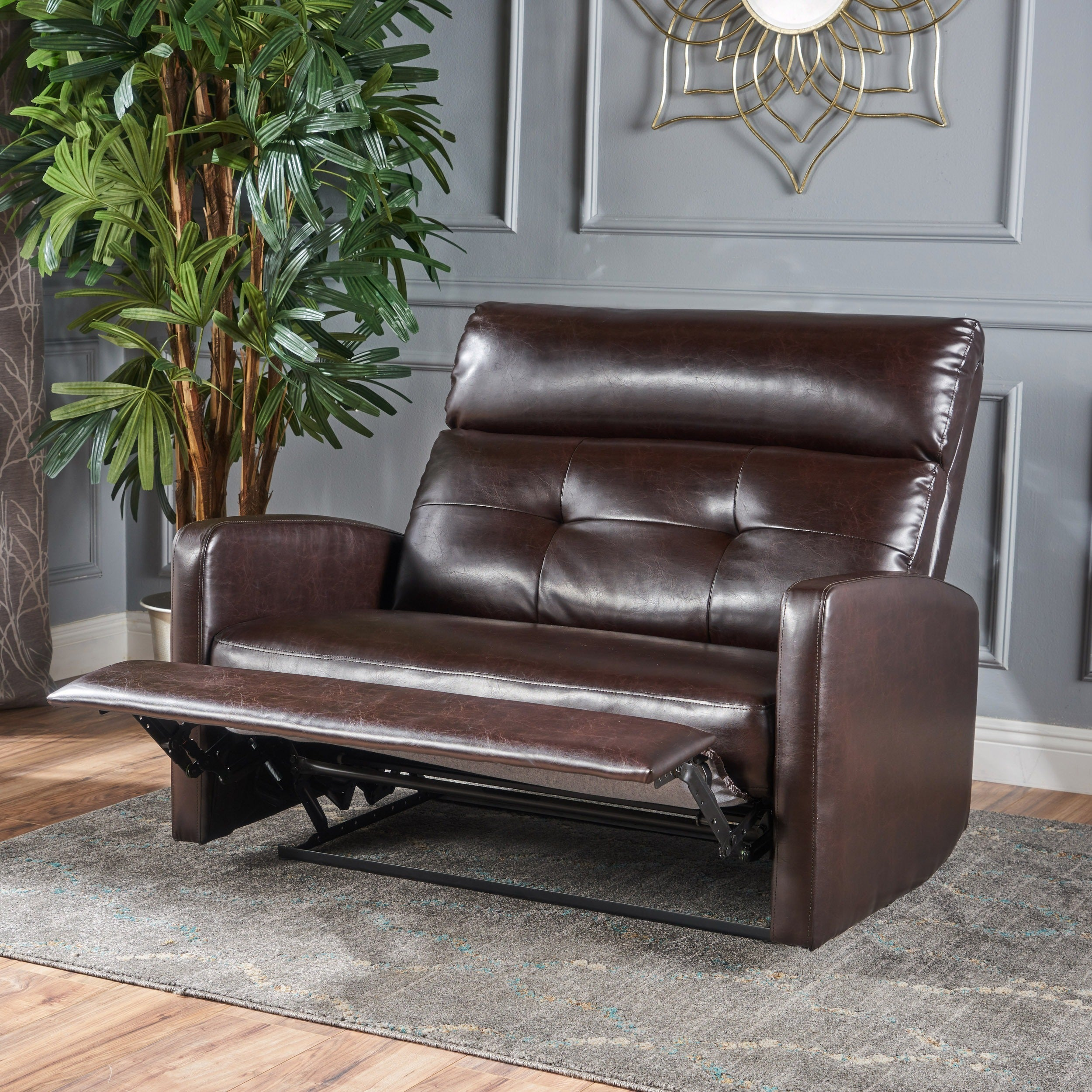 Halima Faux Leather 2 Seater Recliner Club Chair By Christopher Knight Home
