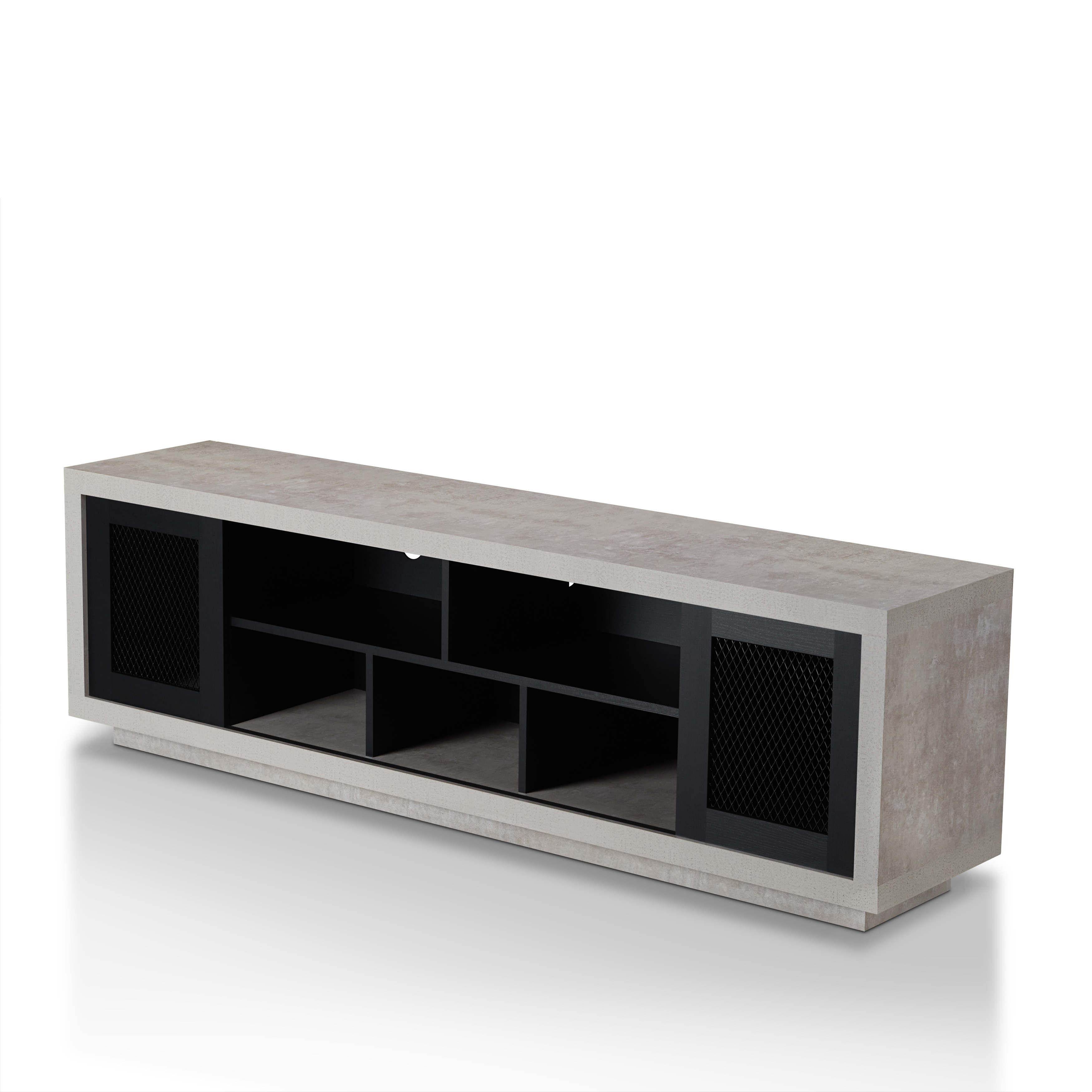 Furniture Of America Selefin Industrial Cement Like Multi Storage TV Stand    Free Shipping Today   Overstock.com   23150823