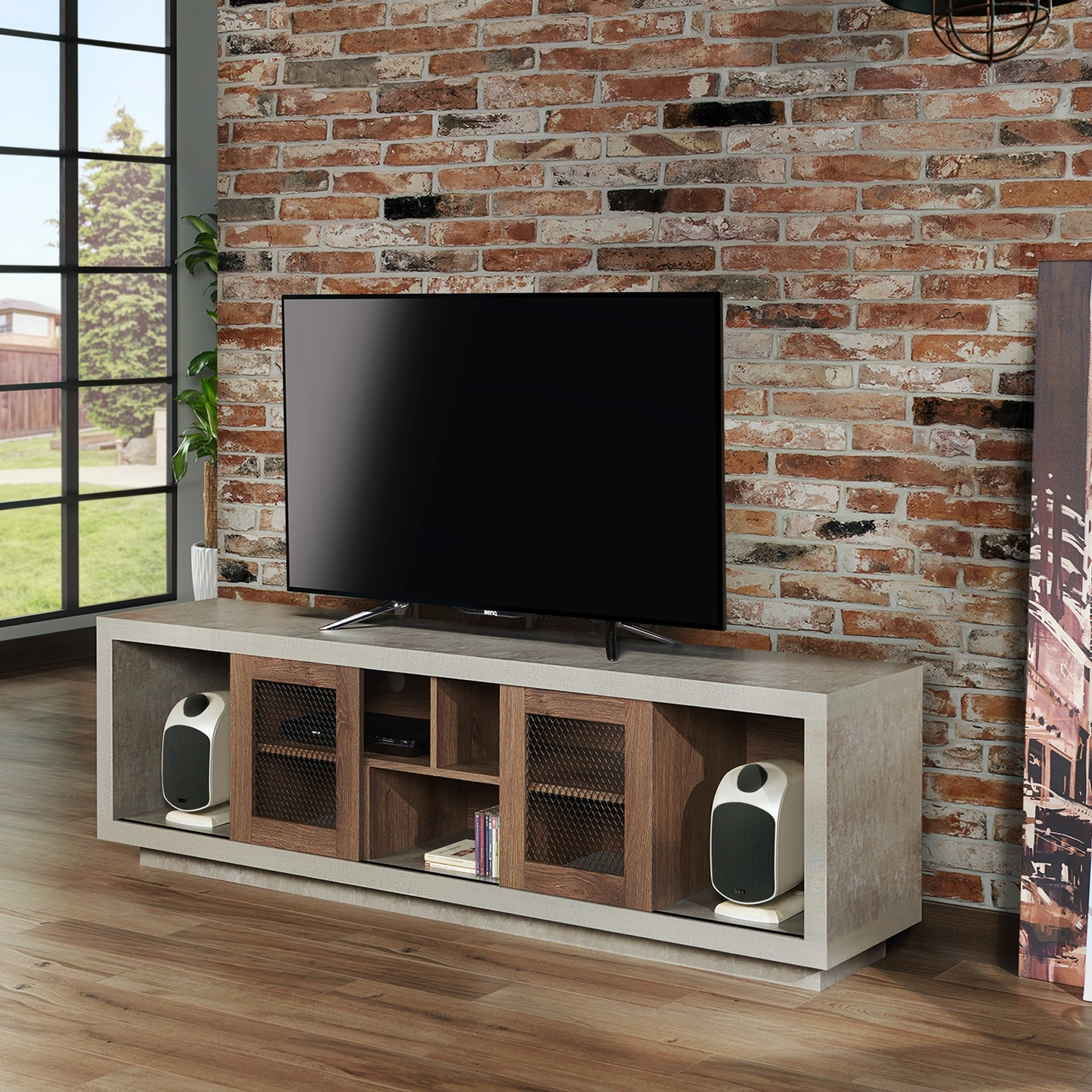 Shop Furniture Of America Selefin Industrial Cement Like Multi Storage TV  Stand   On Sale   Free Shipping Today   Overstock.com   16852240