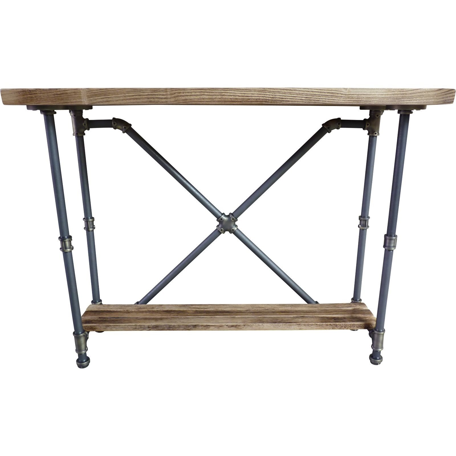 Beau Shop Houston Industrial Vintage Metal And Reclaimed Aged Wood Finish 2 Tier  Pipe Hall Table   On Sale   Free Shipping Today   Overstock.com   16879183