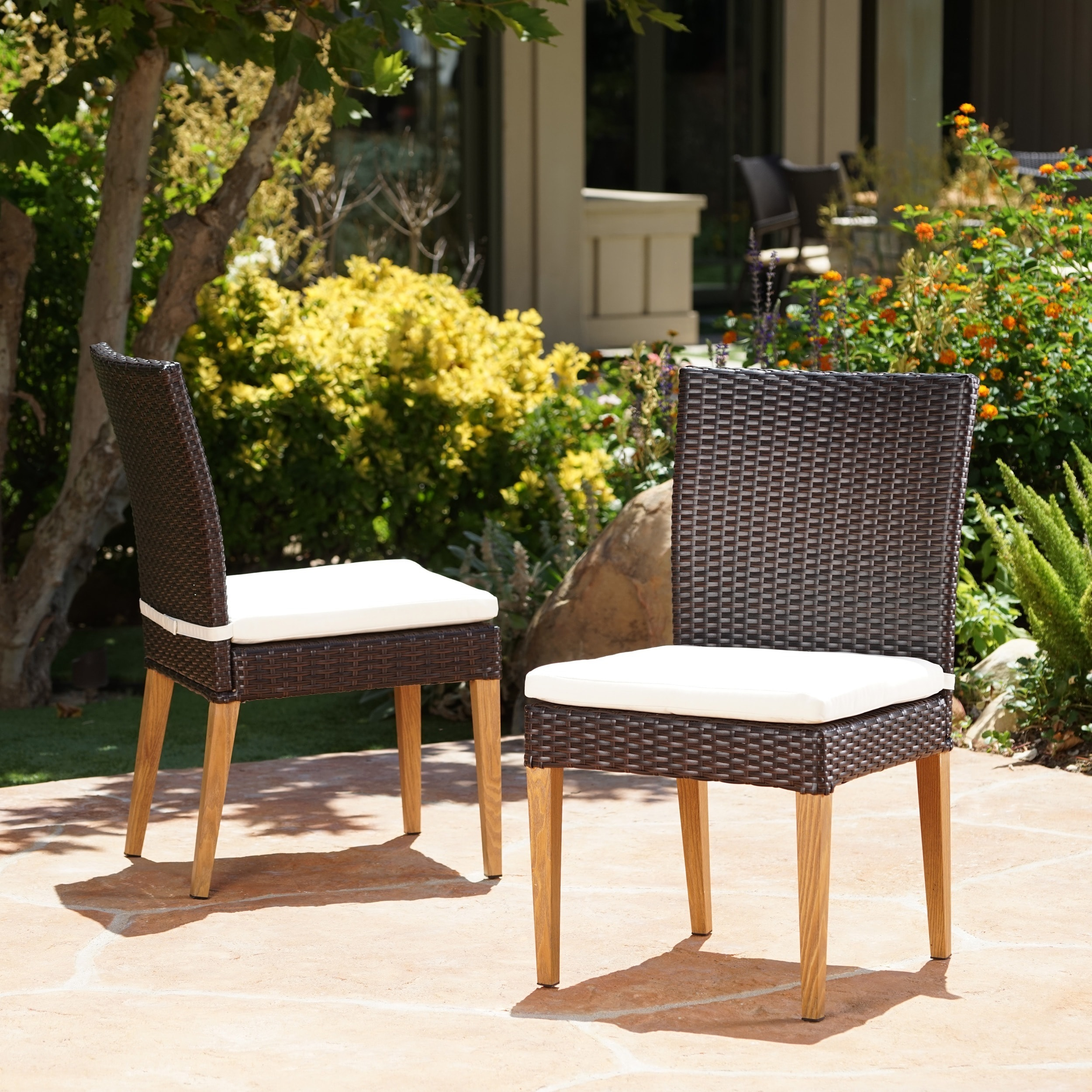 Shop Santa Barbara Outdoor Wicker Dining Chair With Cushion (Set Of 2) By  Christopher Knight Home   On Sale   Free Shipping Today   Overstock.com    16888588